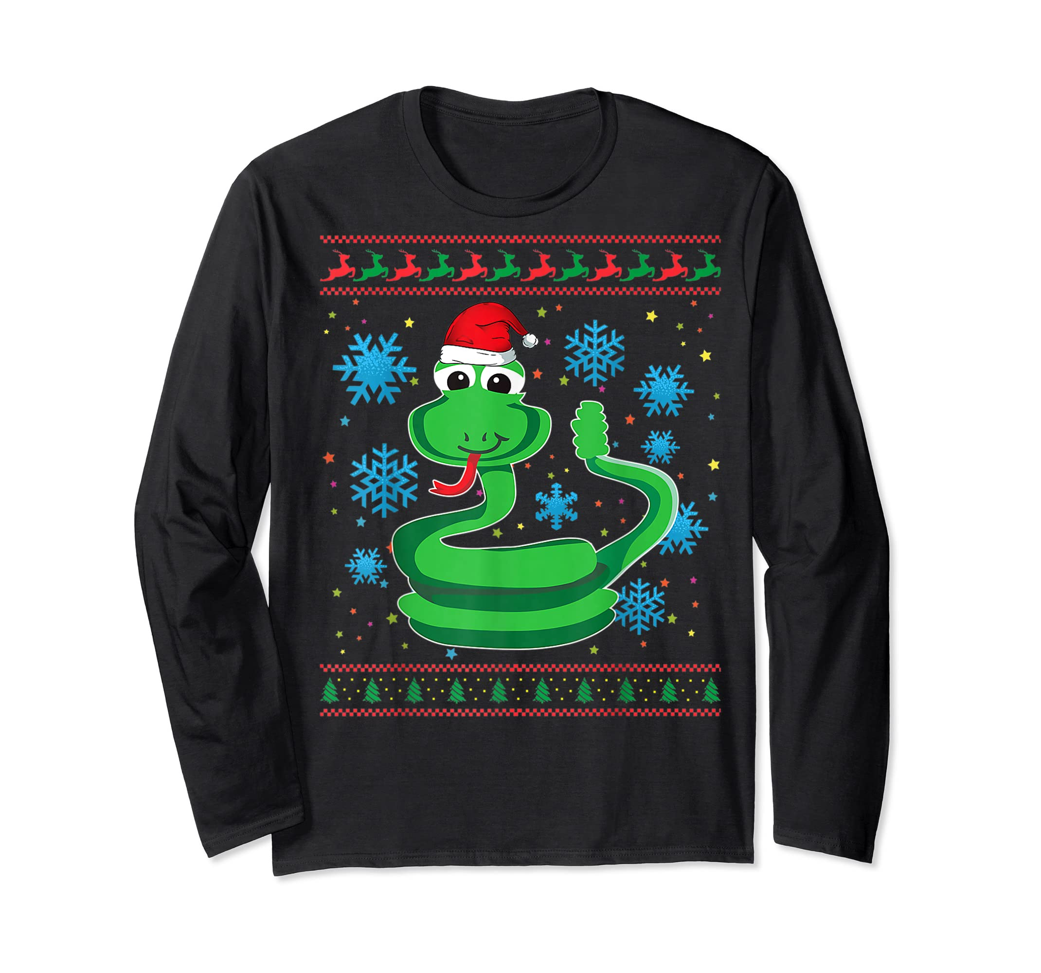 Rattlesnake With Santa Hat Christmas Snake Lover Gift Ugly T-Shirt-Long Sleeve-Black