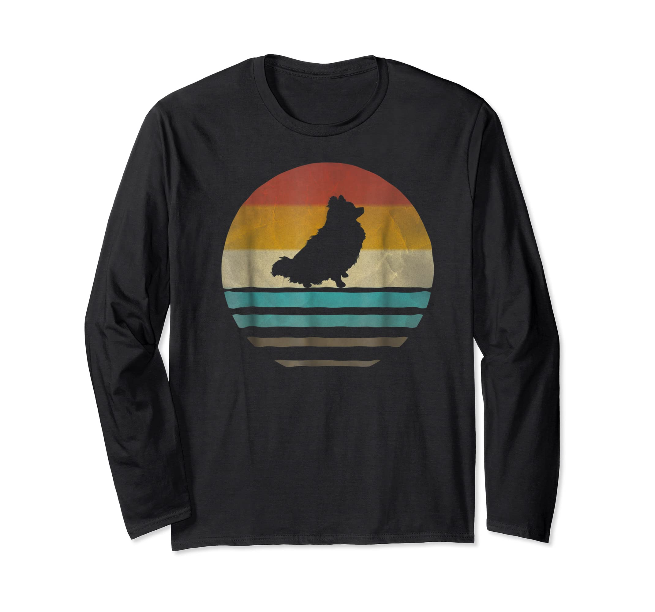 Pomeranian Dog Shirt Retro Vintage 70s Silhouette Distressed-Long Sleeve-Black