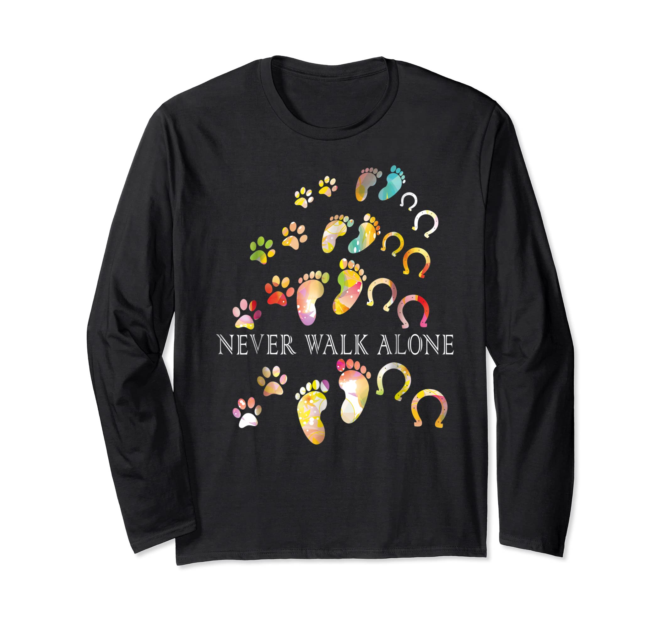 Never Walk Alone Gift For Horse and Dog Lovers T-shirt-Long Sleeve-Black