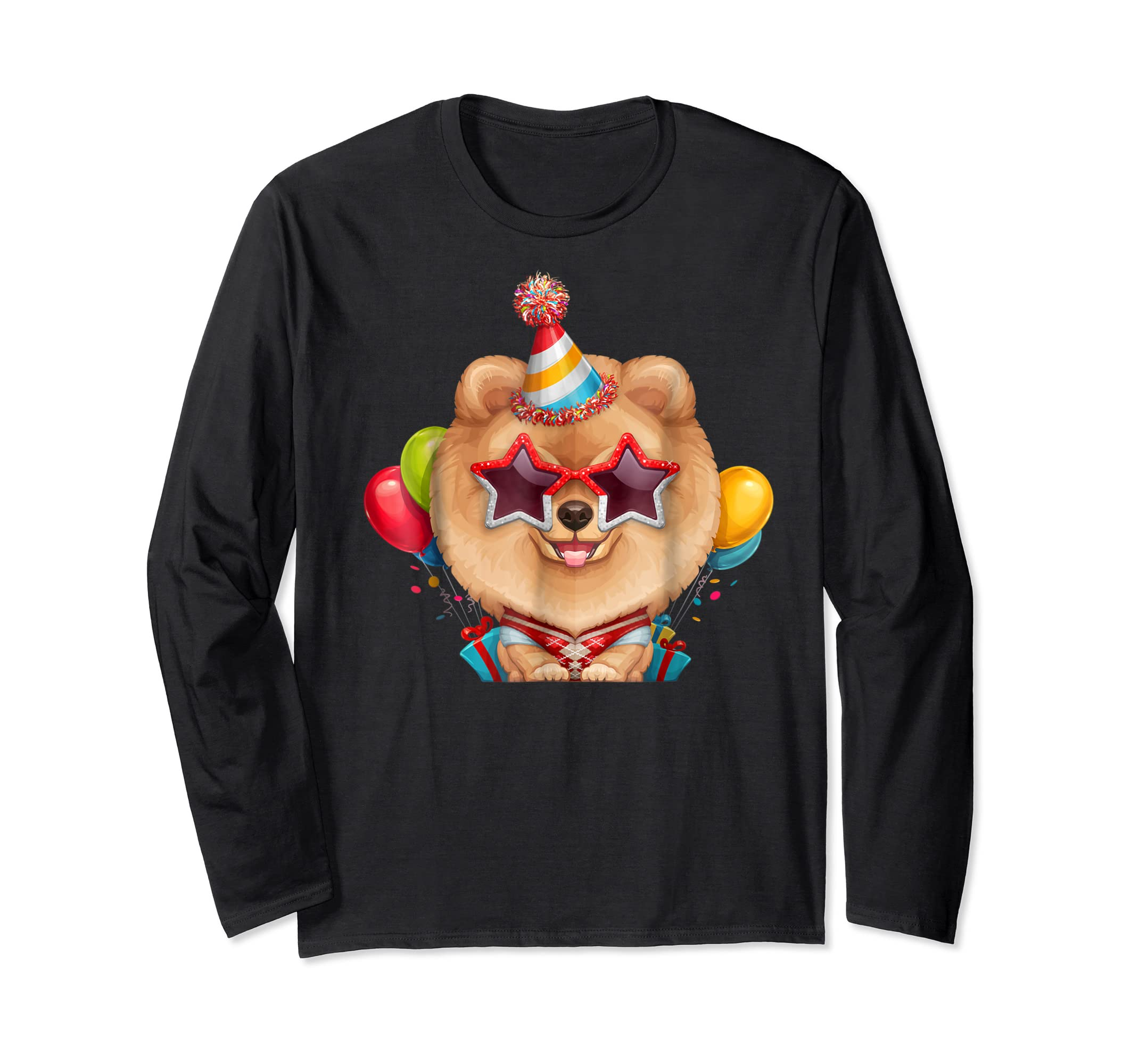 Orange Pomeranian in Glasses Birthday T-Shirt-Long Sleeve-Black
