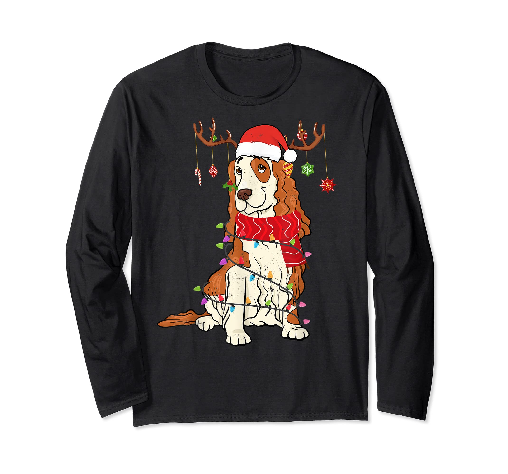 Funny Cocker Spaniel Christmas Reindeer Lights Xmas Dog T-Shirt-Long Sleeve-Black
