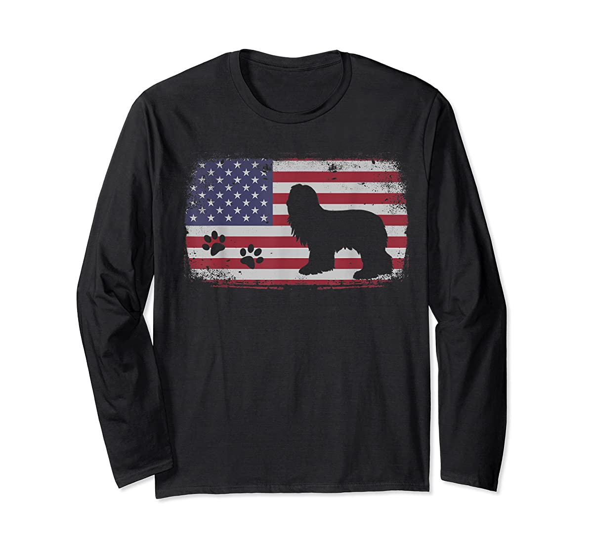 Vintage American Flag Bearded Collie Dog T-Shirt-Long Sleeve-Black