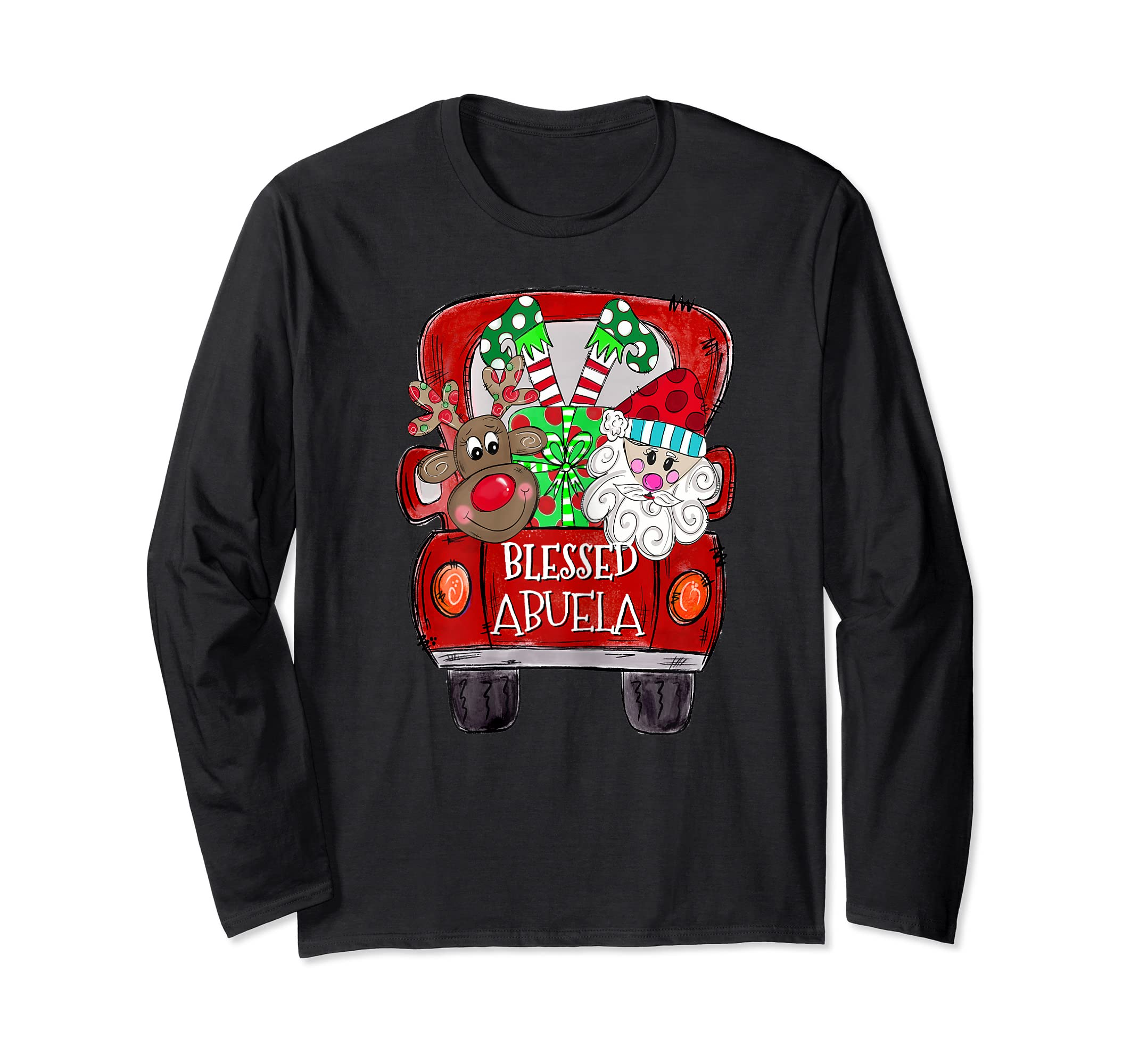 Womens Abuela Claus Cute Christmas Truck - Christmas Gift T-Shirt-Long Sleeve-Black