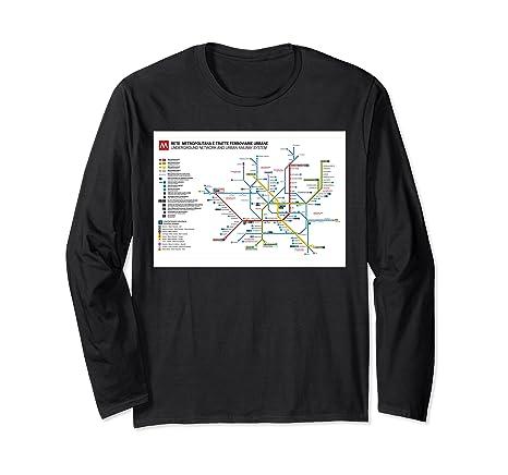 Milan Subway Map.Amazon Com Milan Subway Map Italy Long Sleeve T Shirt Clothing