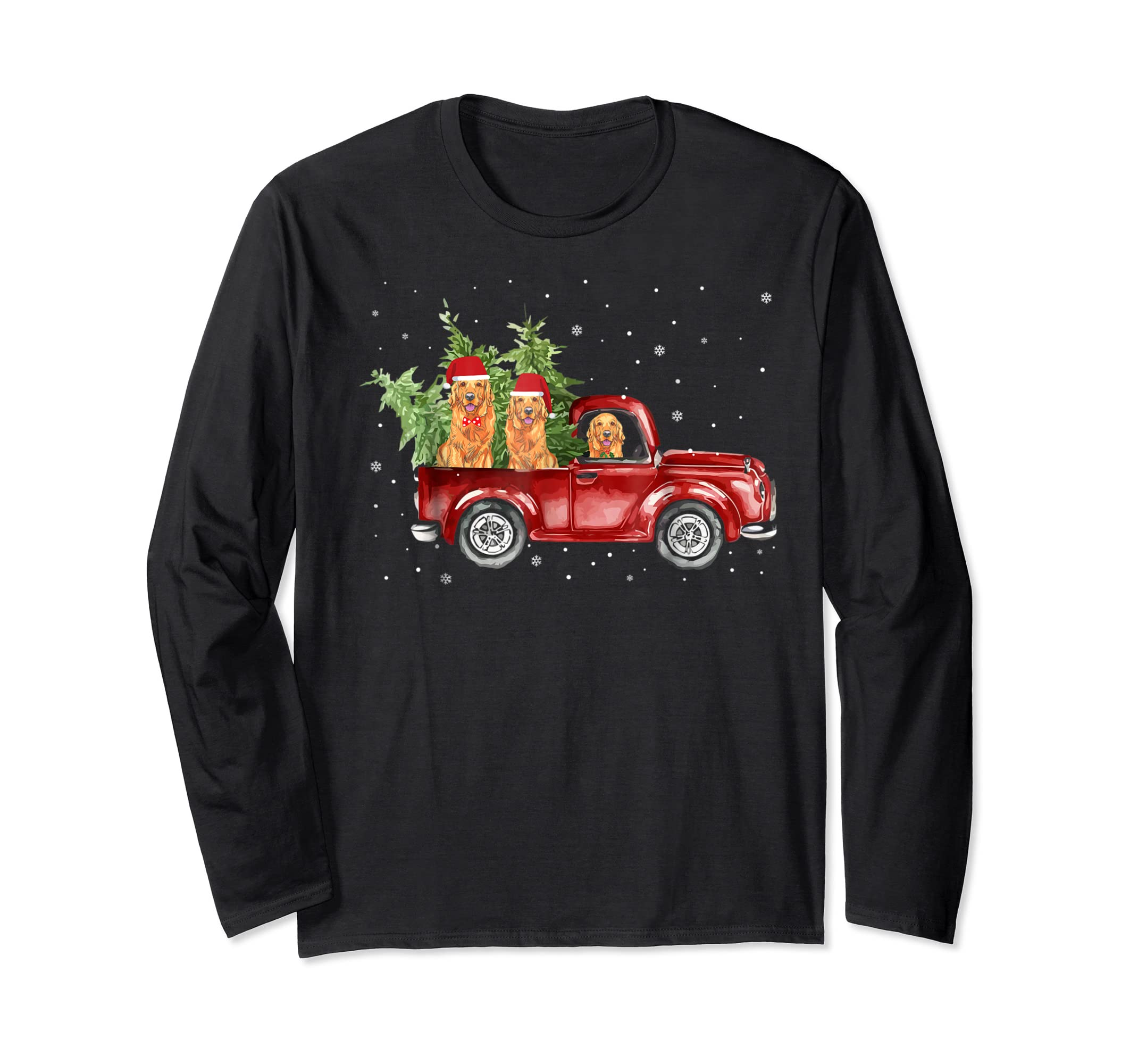 Golden Retriever Pickup Truck Christmas Tshirt-Long Sleeve-Black
