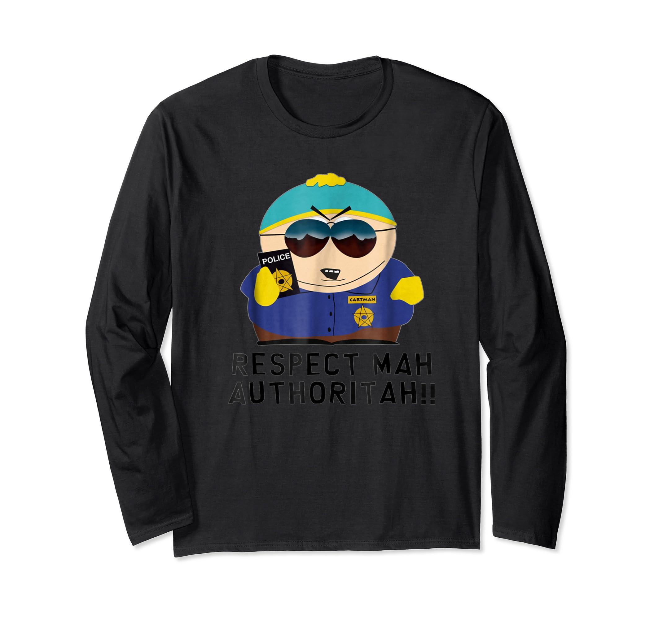 Cartman RESPECT MAH AUTHORITAH shirt-Long Sleeve-Black