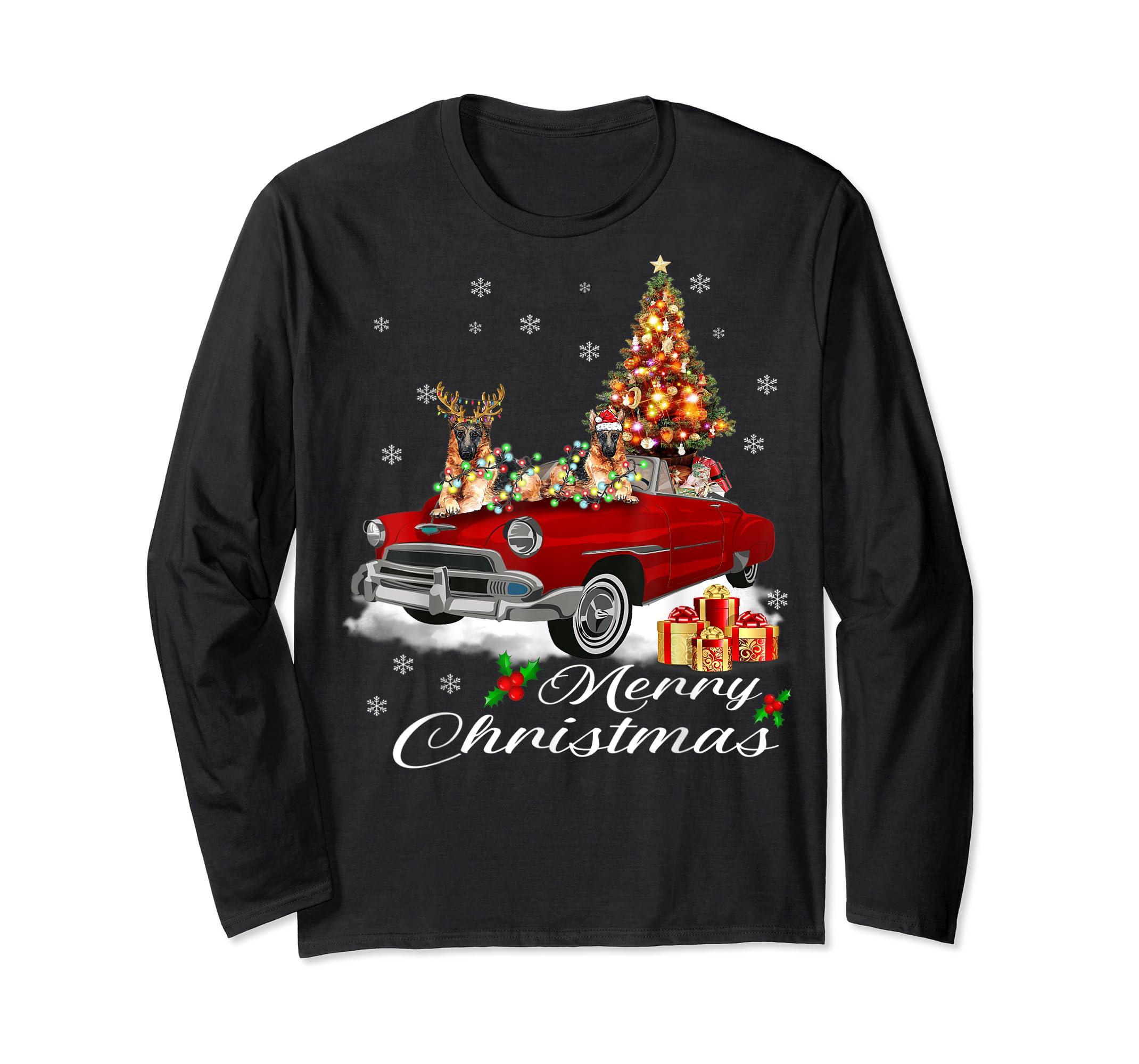 German Shepherd on Red Truck Christmas Pajama Dog Lover Gift T-Shirt-Long Sleeve-Black