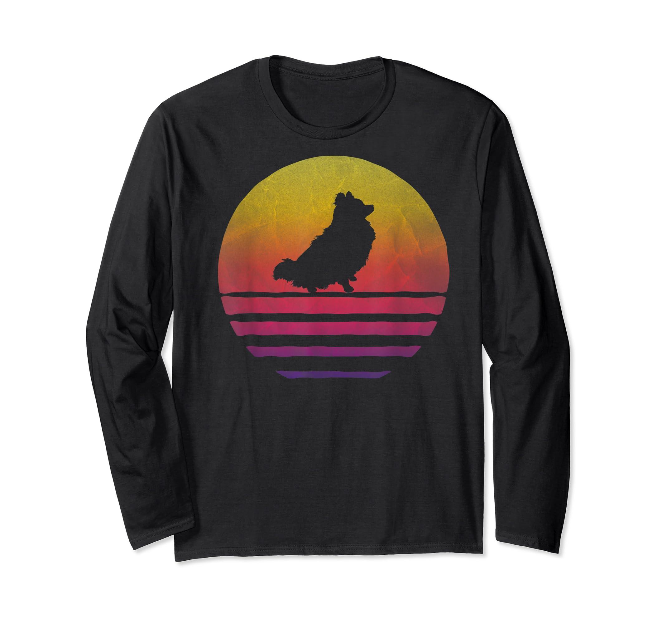 Retro Vintage Sunset Pomeranian Dog Lover Silhouette Gift T-Shirt-Long Sleeve-Black