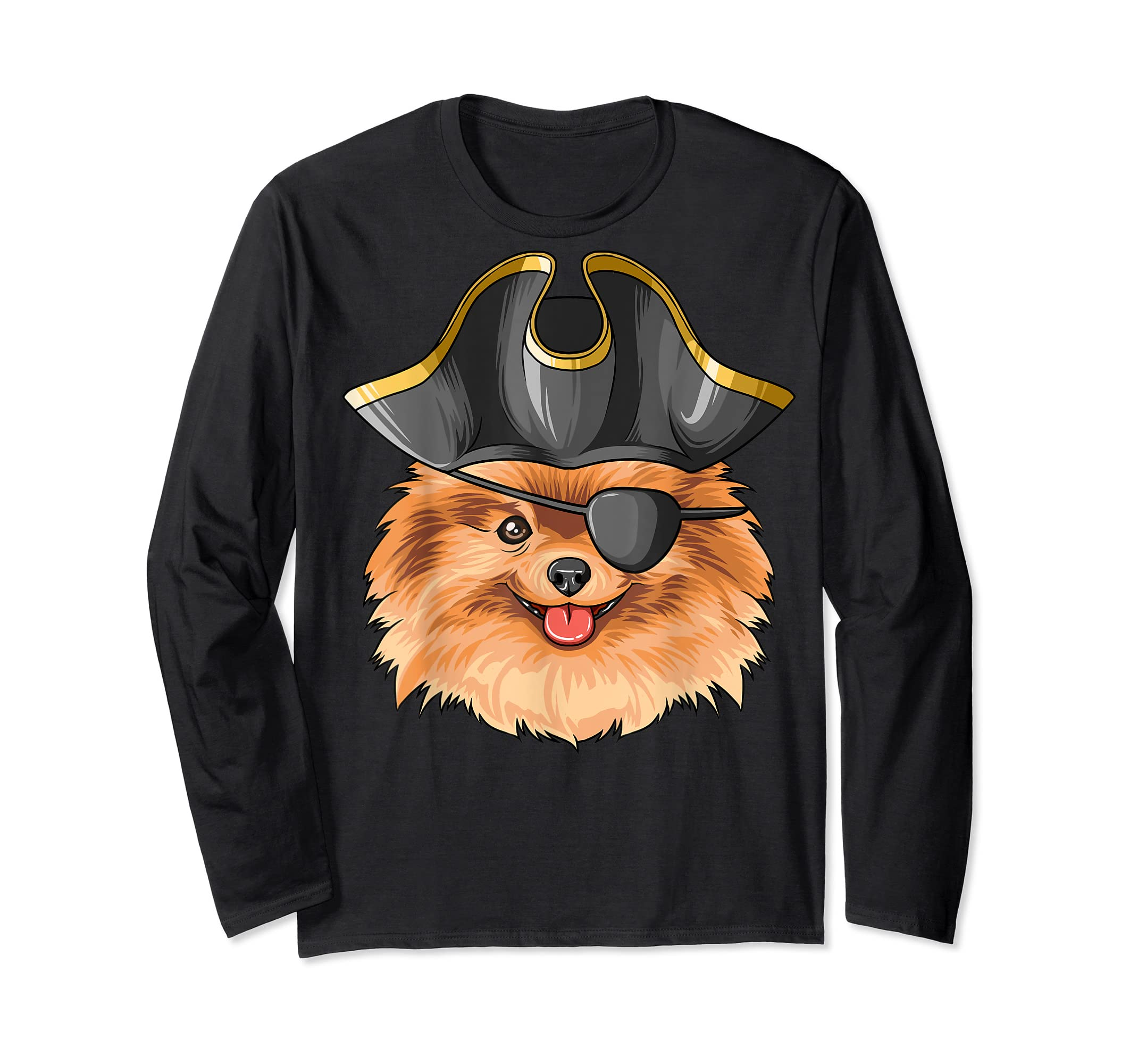 Pirate Pomeranian Pirates Hat Pomeranian T-Shirt-Long Sleeve-Black