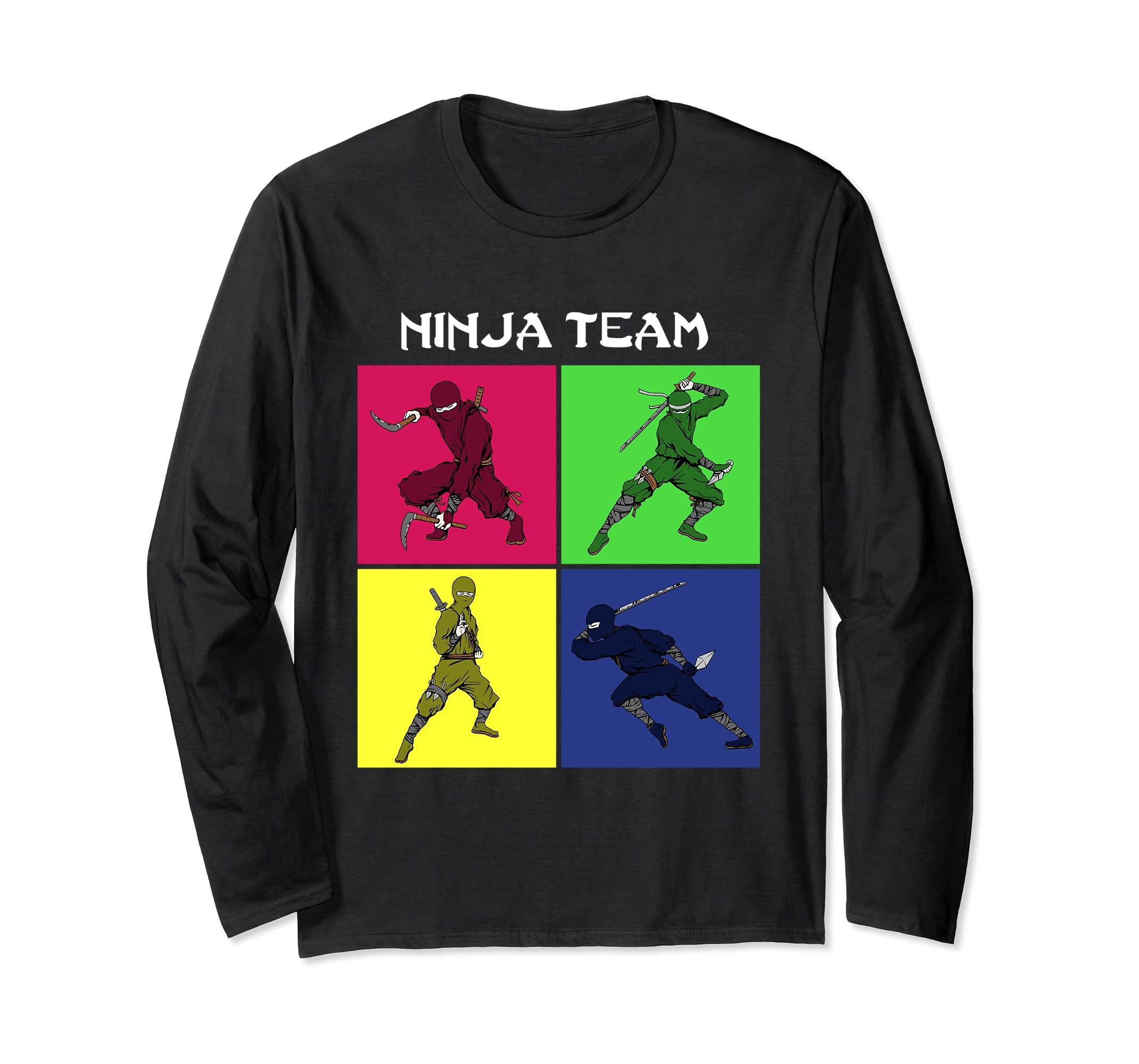 Amazon.com: Shinobi Long Sleeve T-Shirt team vintage ninja ...