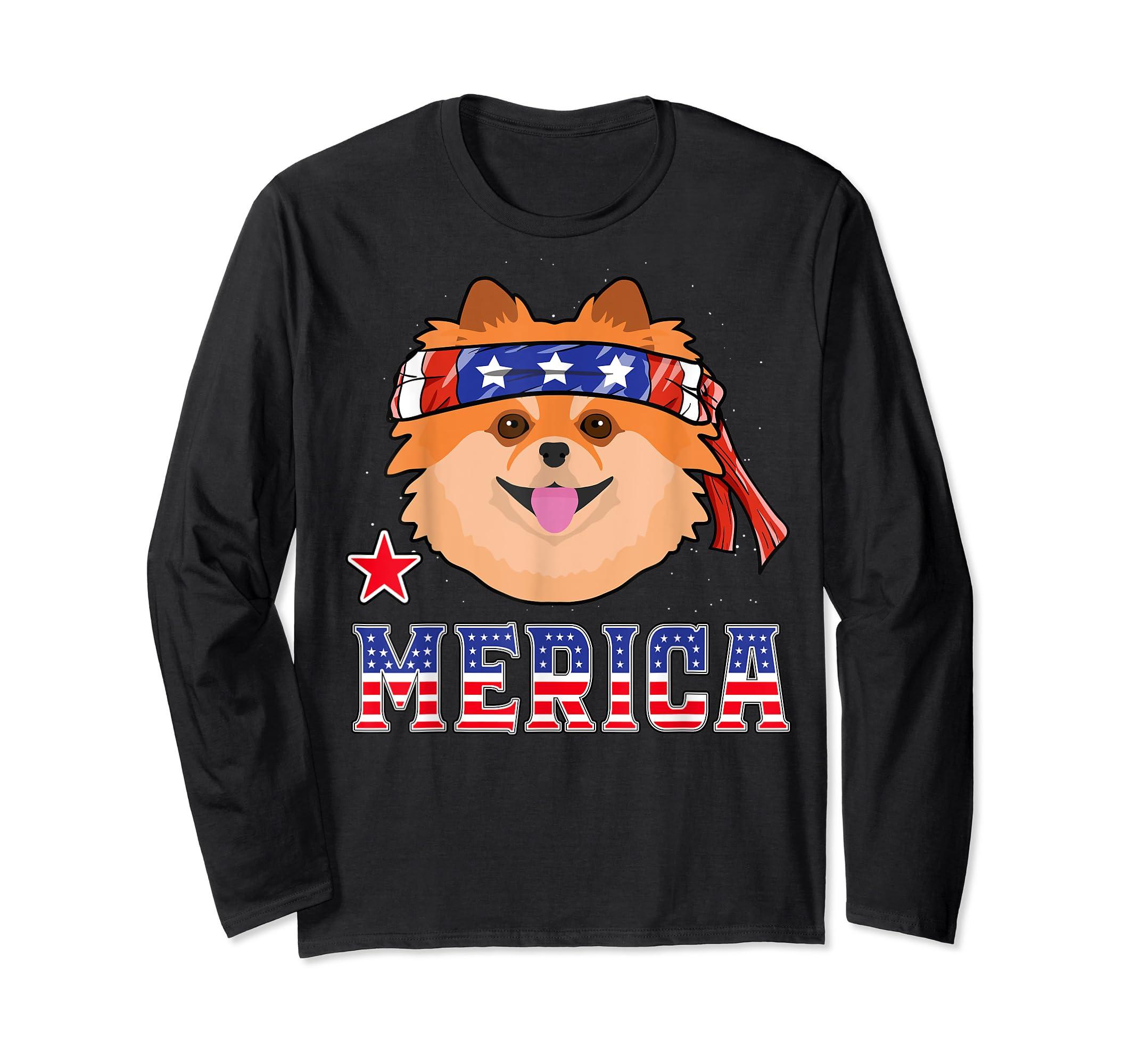 Pomeranian Dog Patriotic American 4th Of July Gift Dogs T-Shirt-Long Sleeve-Black