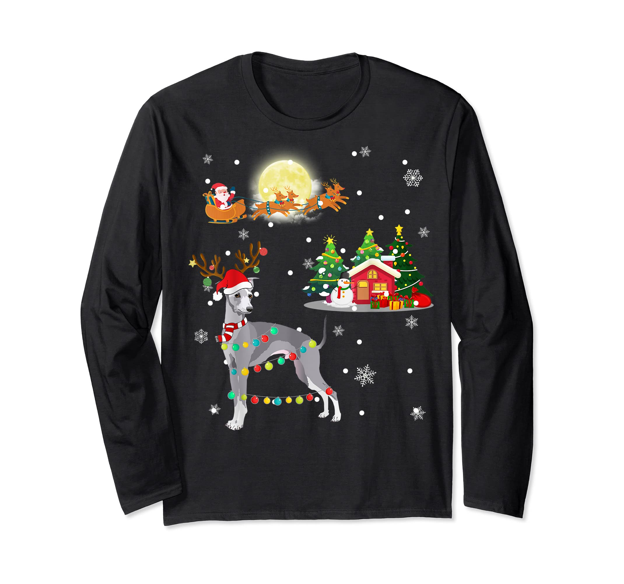Greyhound Dog Led Light Christmas 2019 Gift T-Shirt-Long Sleeve-Black