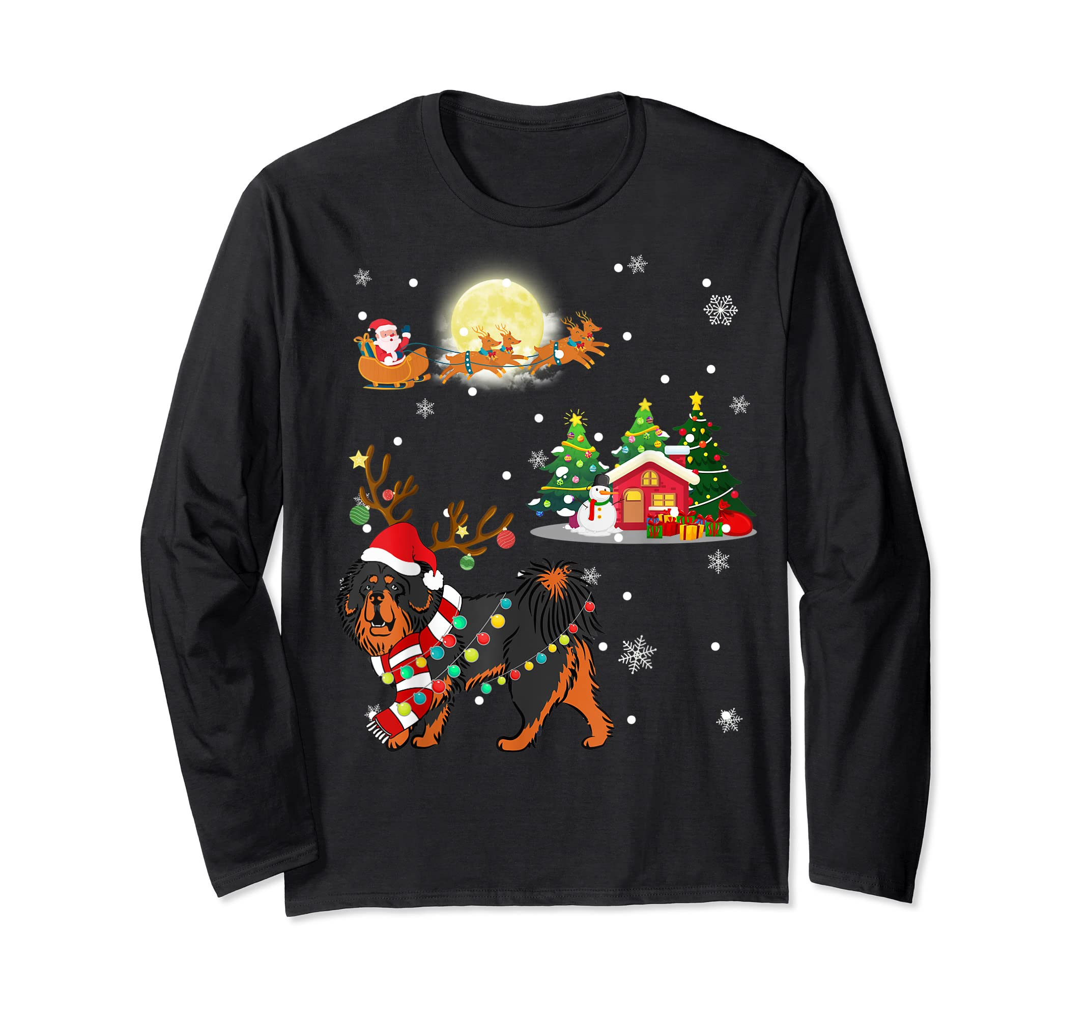 Tibetan Mastiff Dog Led Light Christmas 2019 Gift T-Shirt-Long Sleeve-Black
