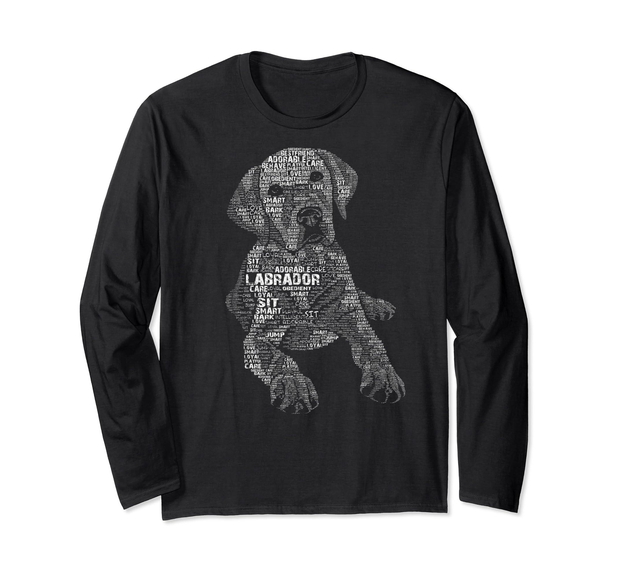 Yellow Chocolate Black Labrador Retriever - Caligram T Shirt-Long Sleeve-Black