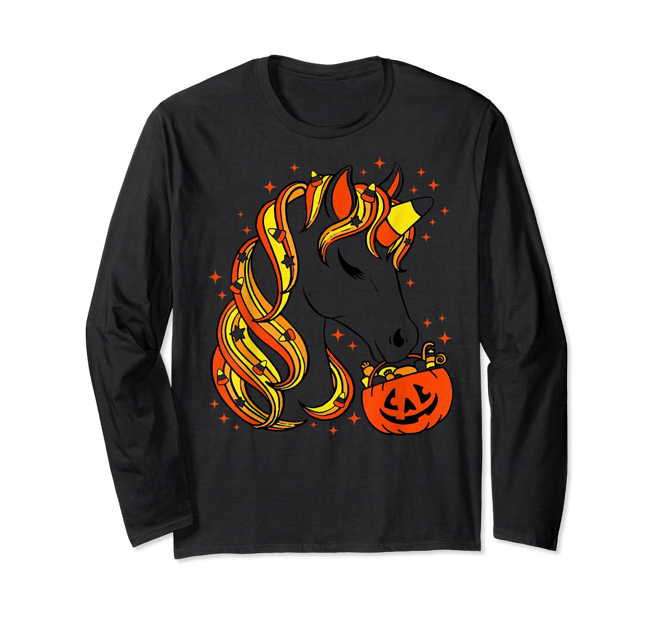 Cute Candy Corn Unicorn Halloween Top T-Shirt-Long Sleeve-Black