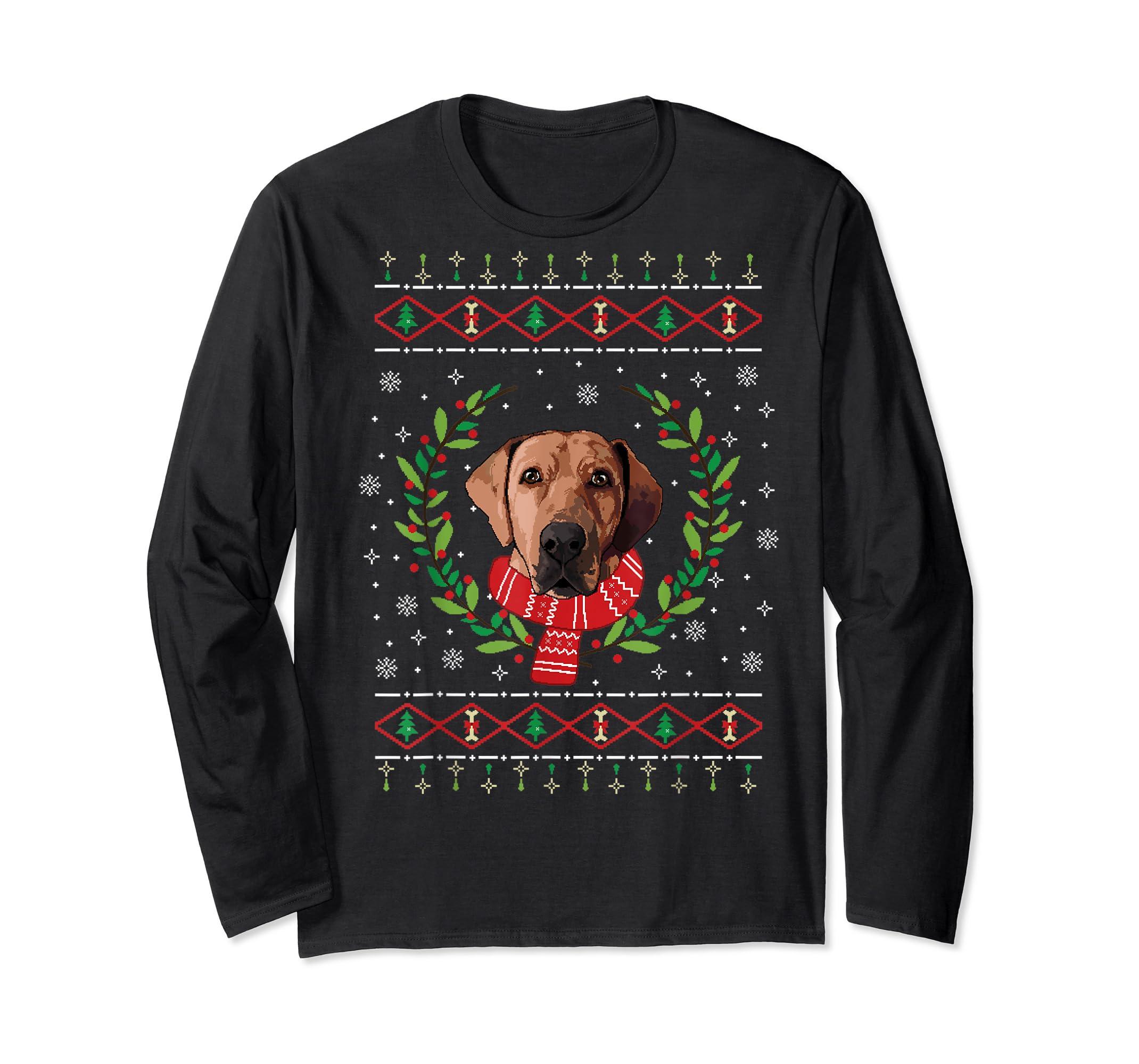 Broholmer Ugly Christmas Jumper T-Shirt Gift T-Shirt-Long Sleeve-Black