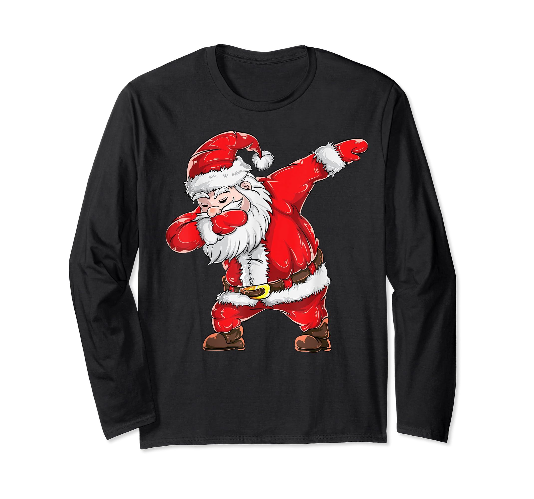 Dabbing Santa Claus Christmas Kids Boys Girls Dab Xmas Dance T-Shirt-Long Sleeve-Black