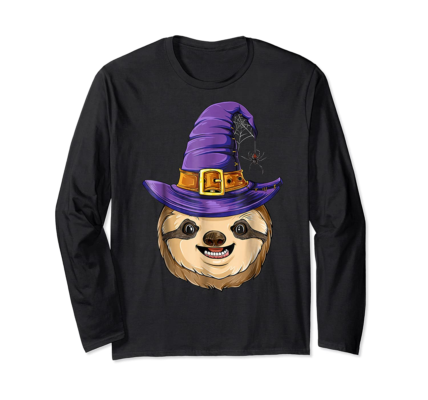 Sloth Witch T Shirt Halloween Girls Funny Costume Long Sleeve T-shirt