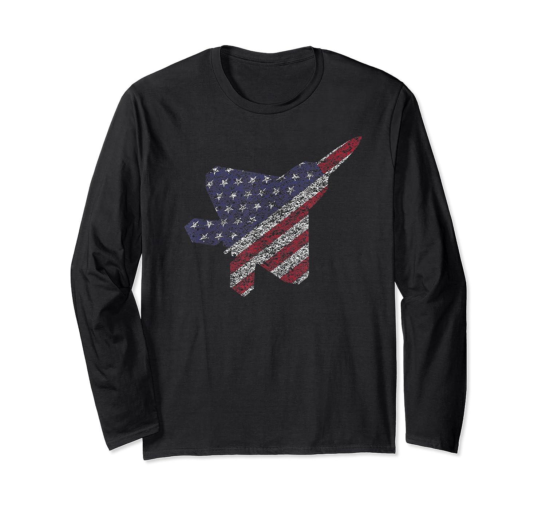 F22 Raptor Airplane Art 4th Of July Flag Patriotic T-shirt Long Sleeve T-shirt