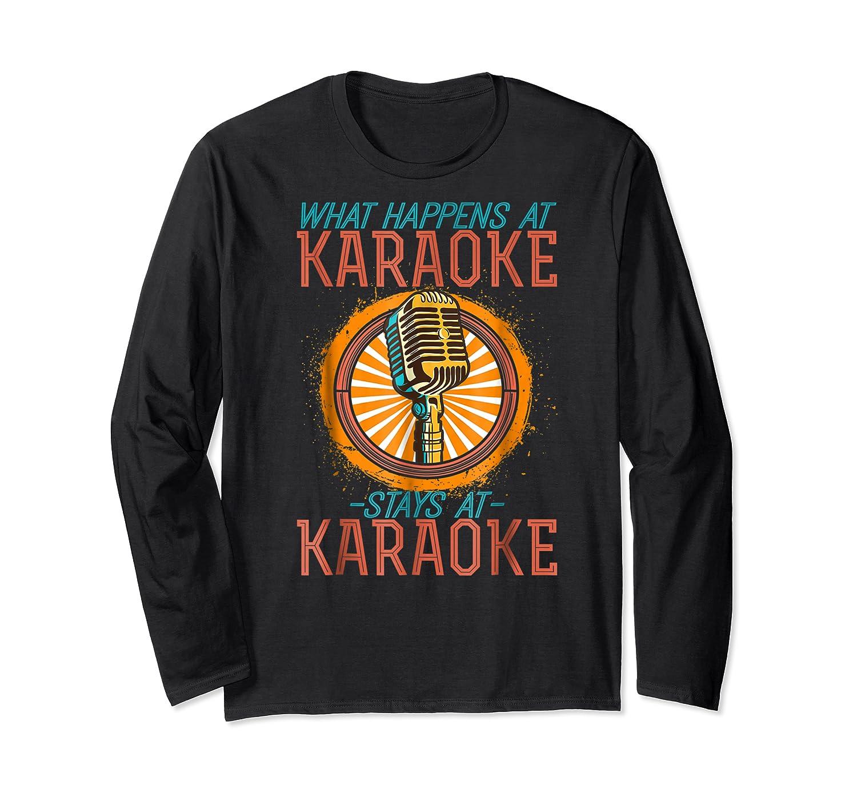 Karaoke Music Gifts Sing Music Bar Singer Vegas Style Mic Shirts Long Sleeve T-shirt