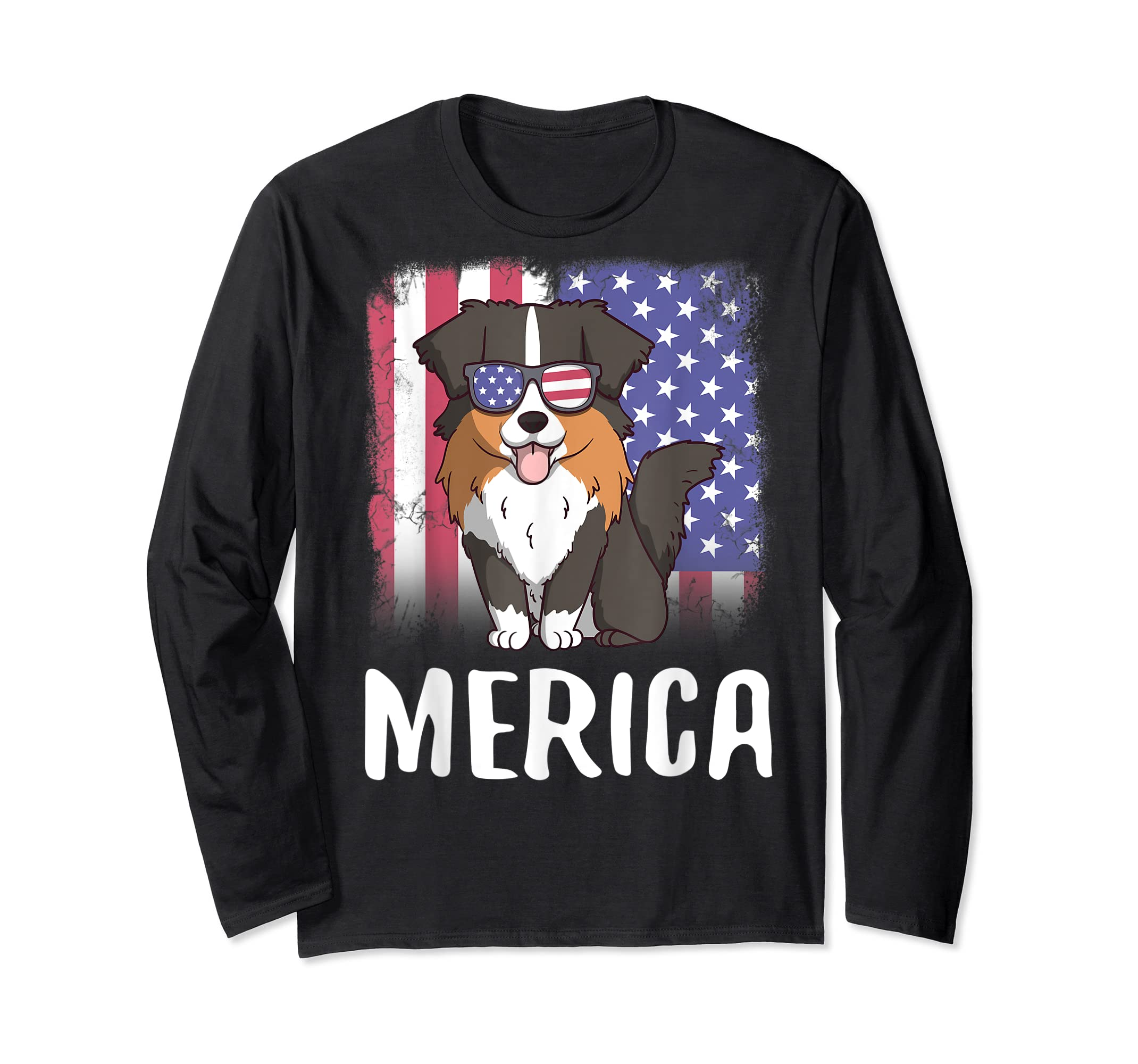 Merica Australian Shepherd Dog USA American Flag 4th of July T-Shirt-Long Sleeve-Black
