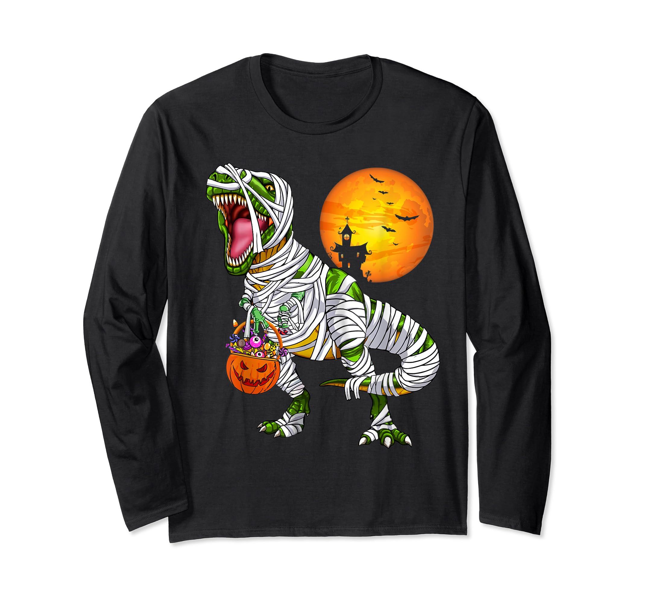Halloween Gift For Boys Kids Dinosaur T rex Mummy Pumpkin T-Shirt-Long Sleeve-Black
