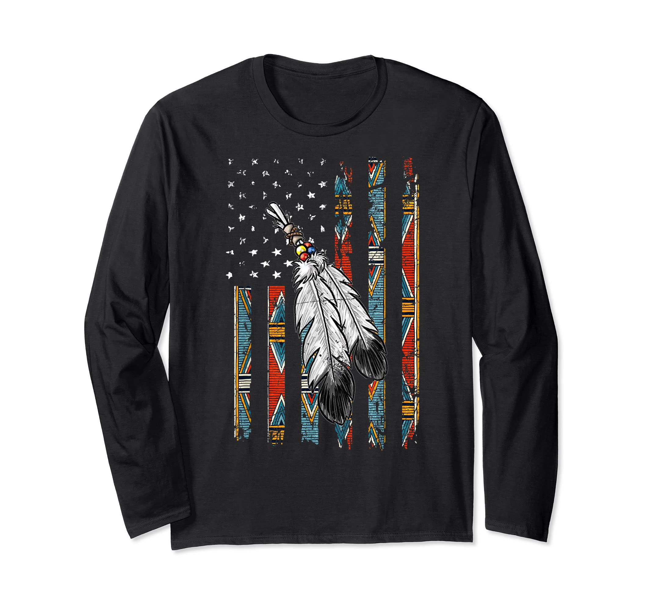 American Flag Native Tribe Feather Pride T-Shirt-Long Sleeve-Black