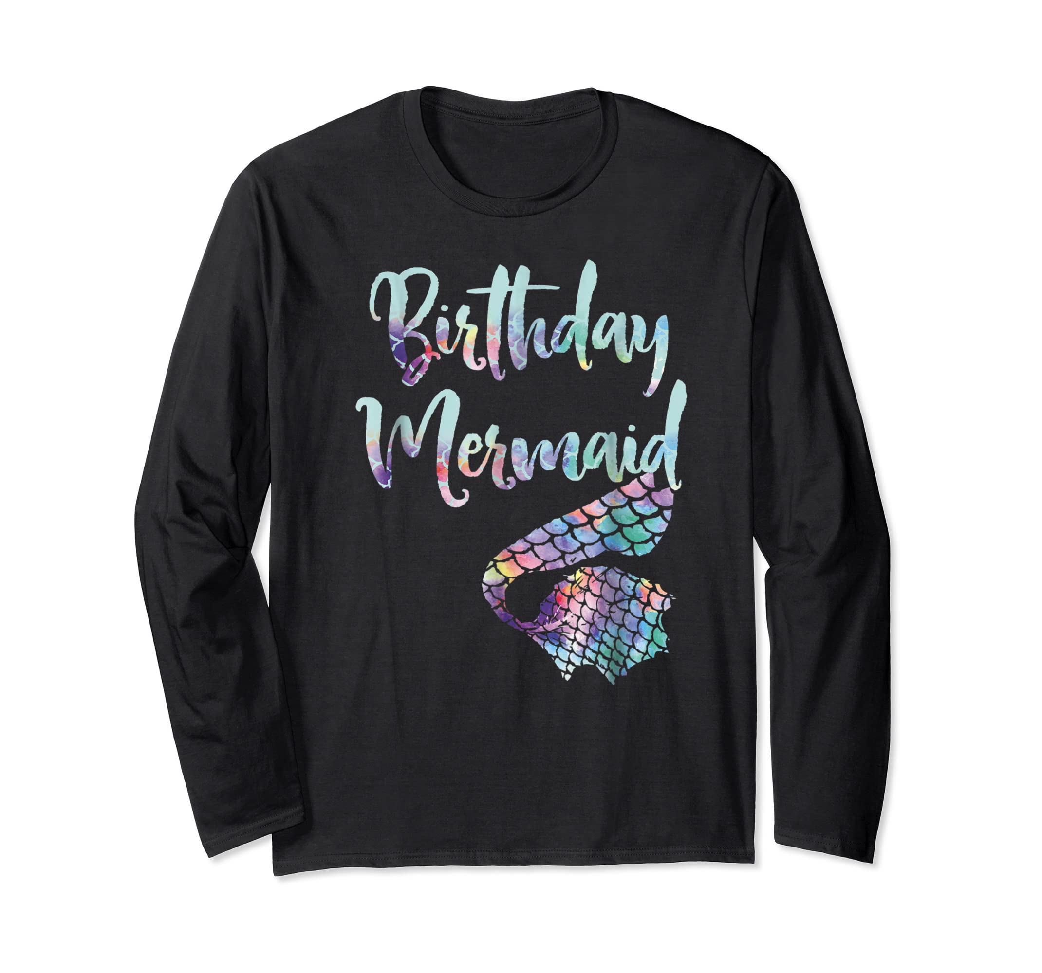 Birthday Mermaid Shirt-Long Sleeve-Black