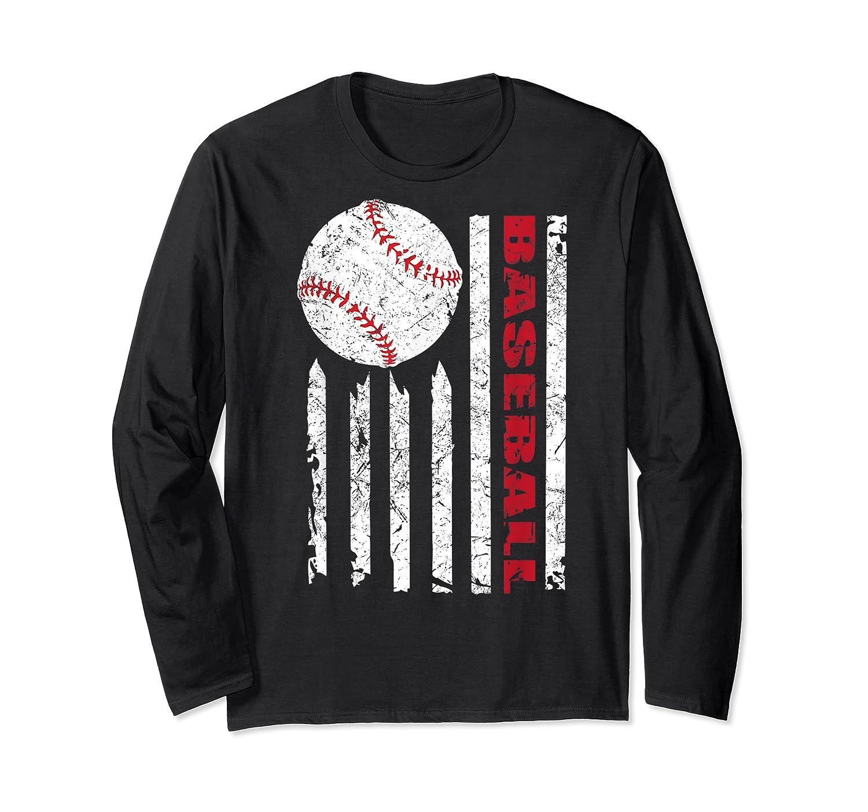 American Flag Baseball | July 4th Usa Flag Patriotic Design T-shirt Long Sleeve T-shirt