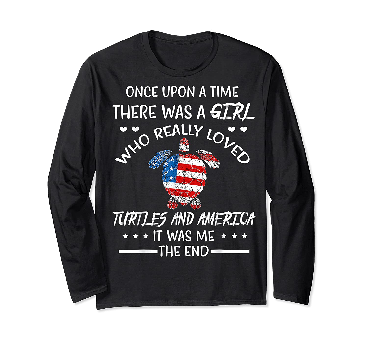 Once Upon A Time Turtle America 4th Of July T Shirt Gifts Long Sleeve T-shirt