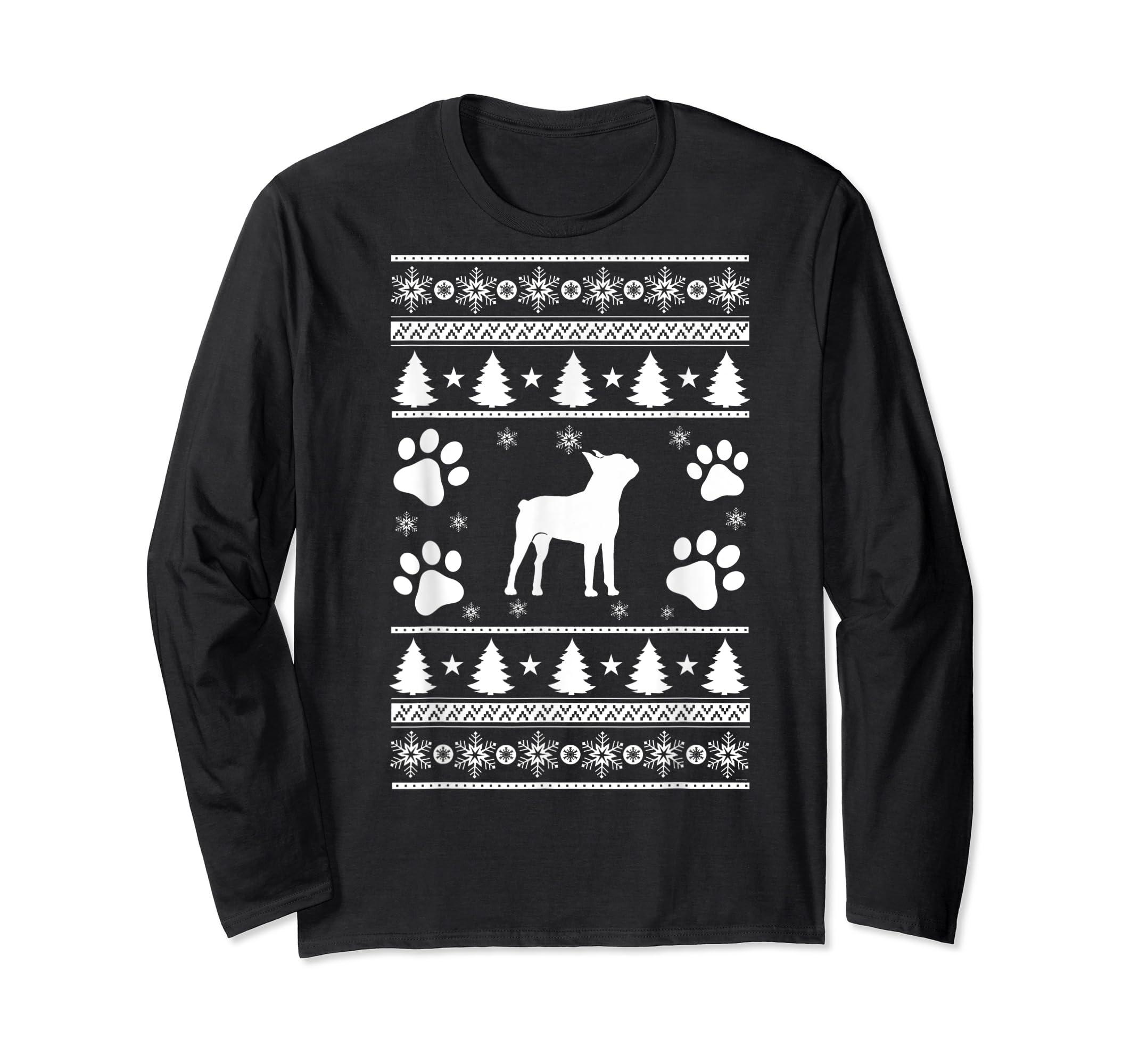 Boston Terrier lovers ugly christmas gift T-Shirt-Long Sleeve-Black