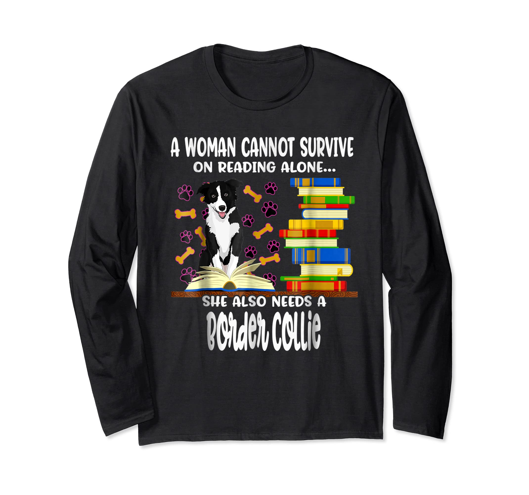 A Woman Reading Book Dog Border Collie Shirt-Long Sleeve-Black