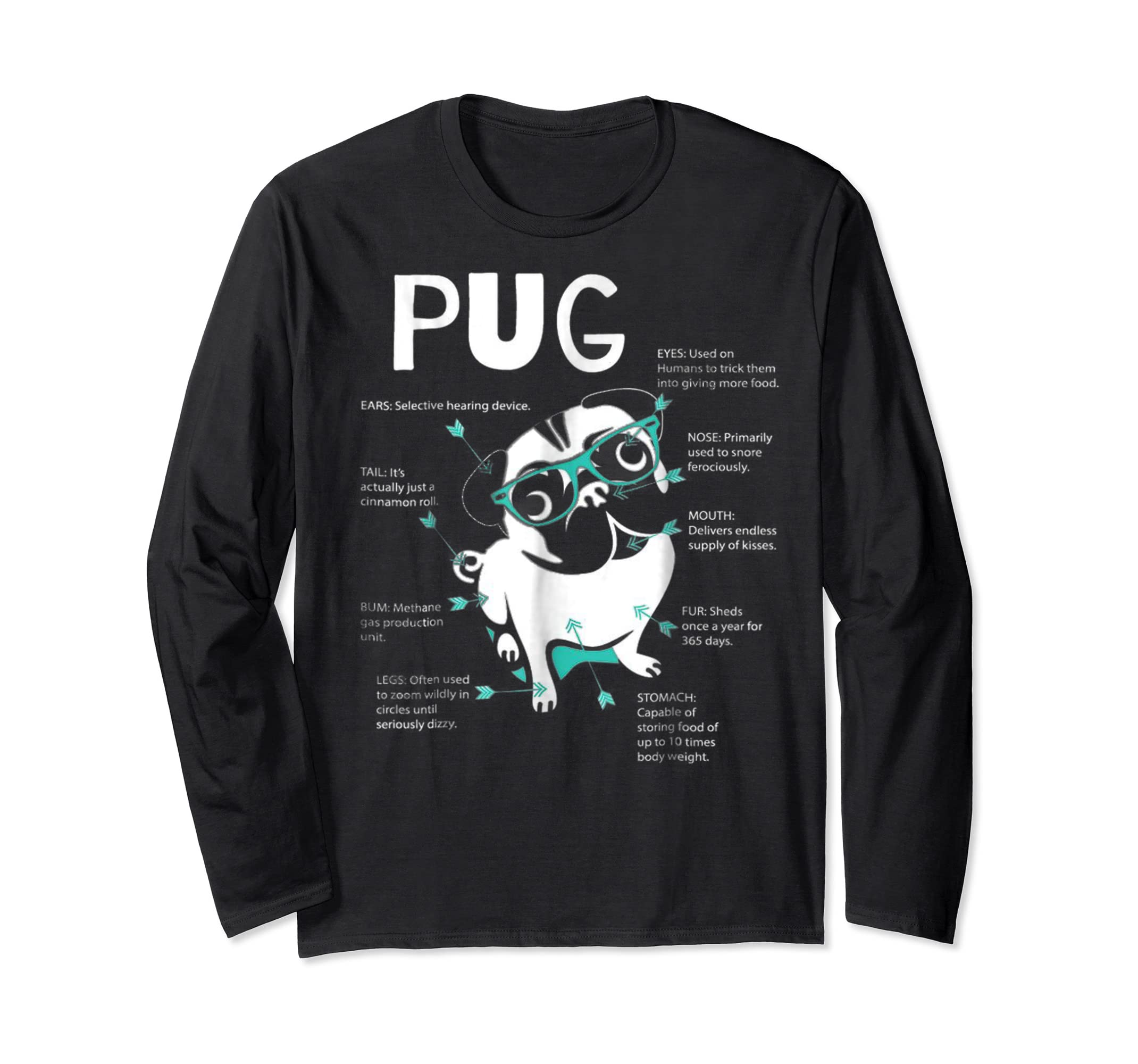 Anatomy Of A Pug Tshirt-Long Sleeve-Black