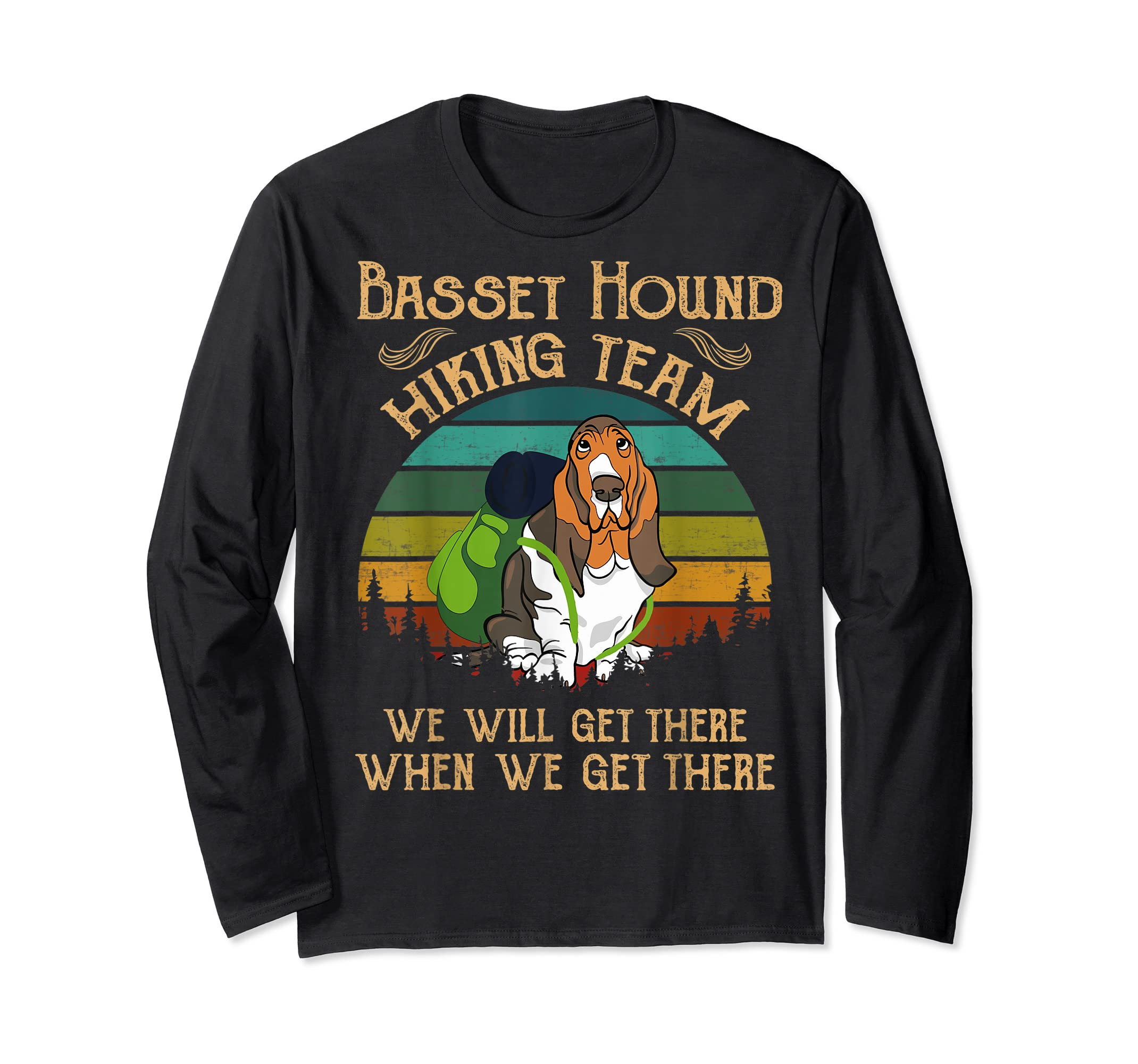 Basset Hound Hiking Team We Will Get There Vintage T-shirt-Long Sleeve-Black