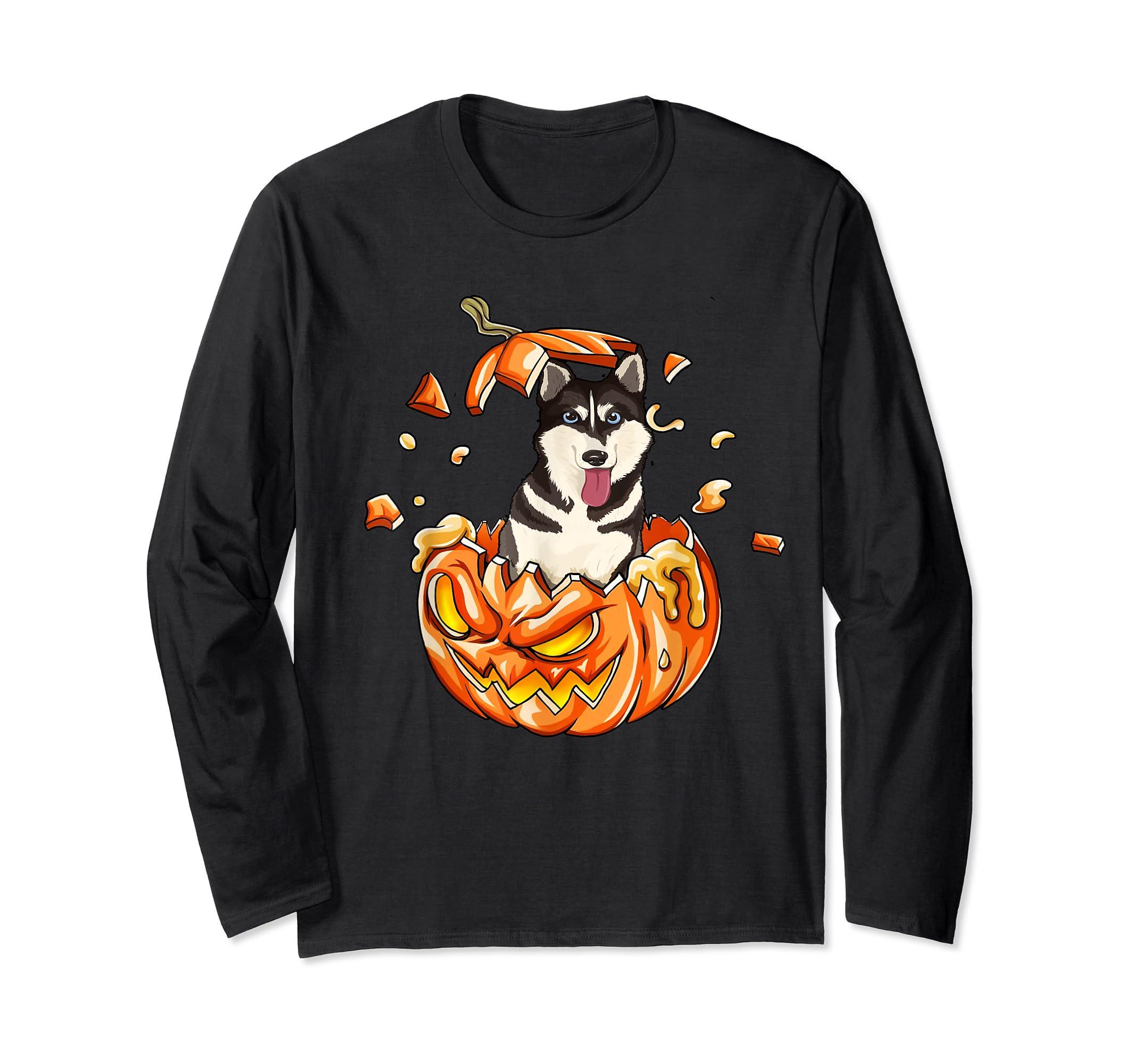 Halloween Pumpkin T-Shirt Siberian Husky Lovers Gifts T-Shirt-Long Sleeve-Black
