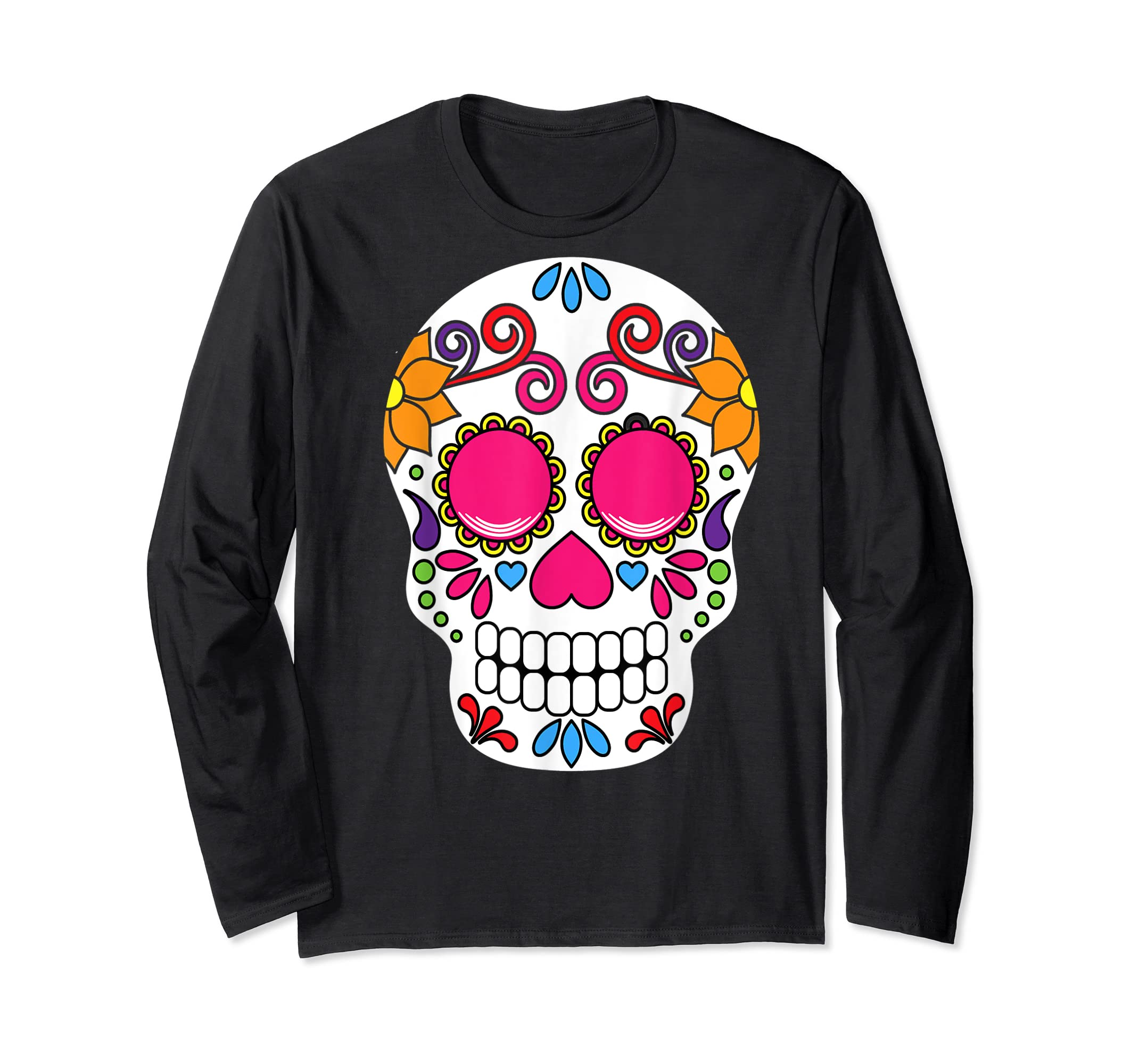 Colorful Day Of The Dead Sugar Skull Halloween T-shirt-Long Sleeve-Black