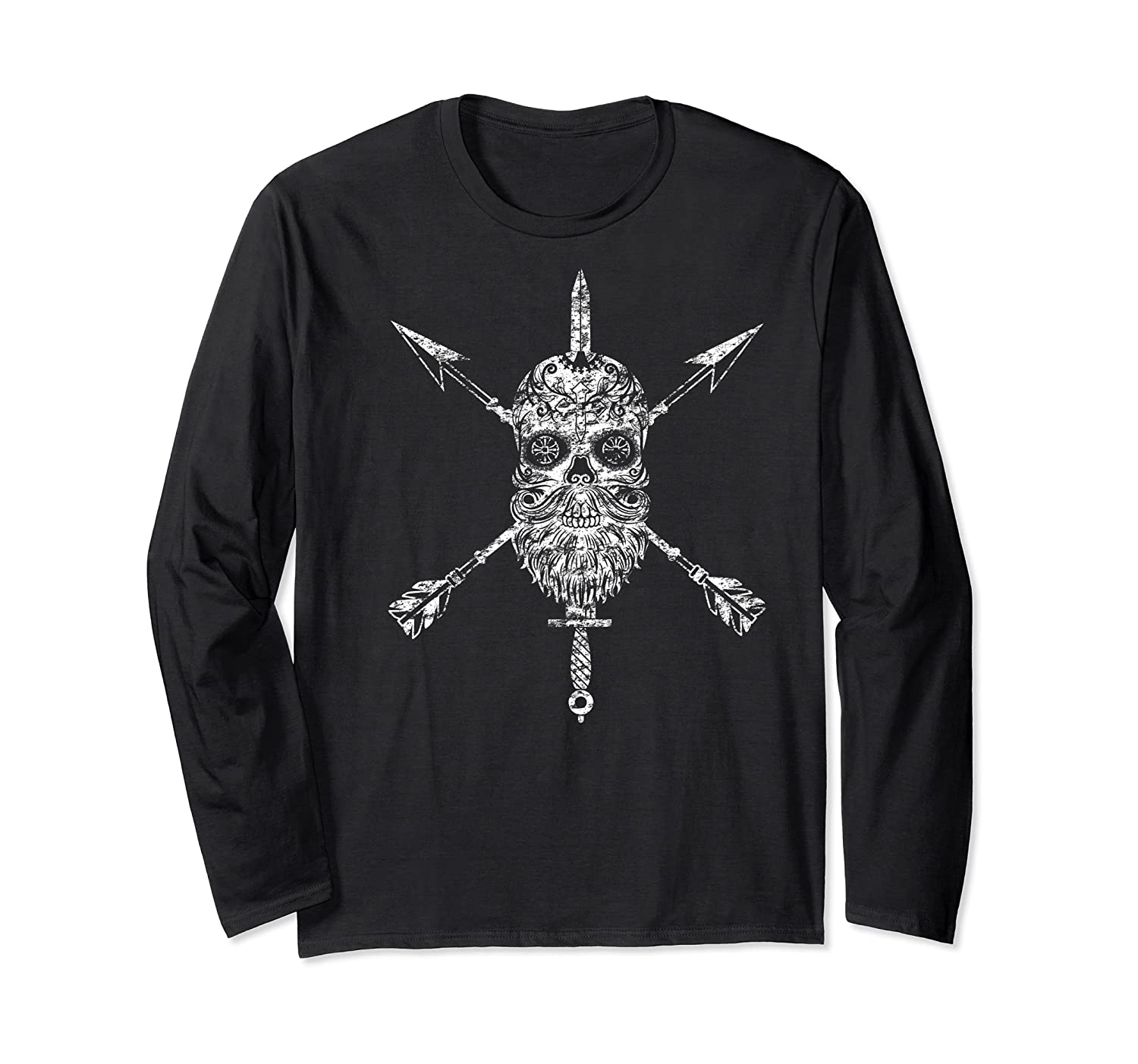 Vintage Sugar Skull Special Forces Military Tribute Design Shirts Long Sleeve T-shirt