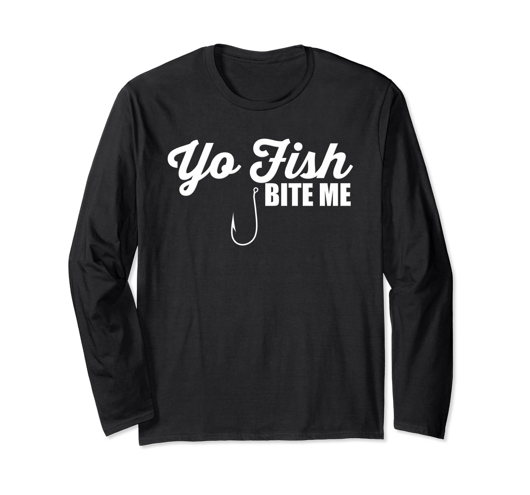 df7a7159f8 Amazon.com: Yo Fish Bite Me Funny Fishing Bait Sports Fishing TShirt:  Clothing