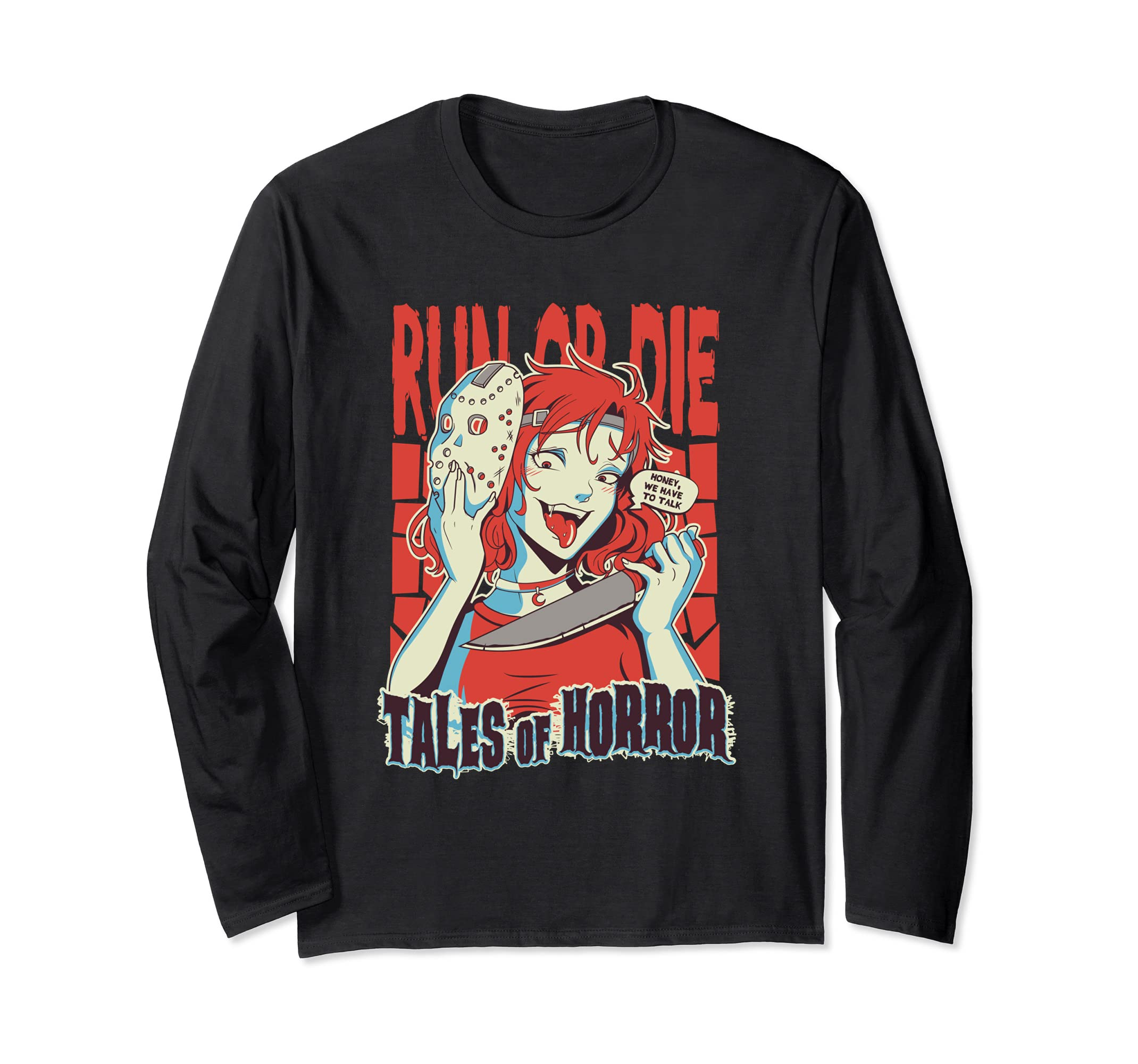 Yandere Long Sleeve Shirt lewd face anime Tales of horror-Awarplus