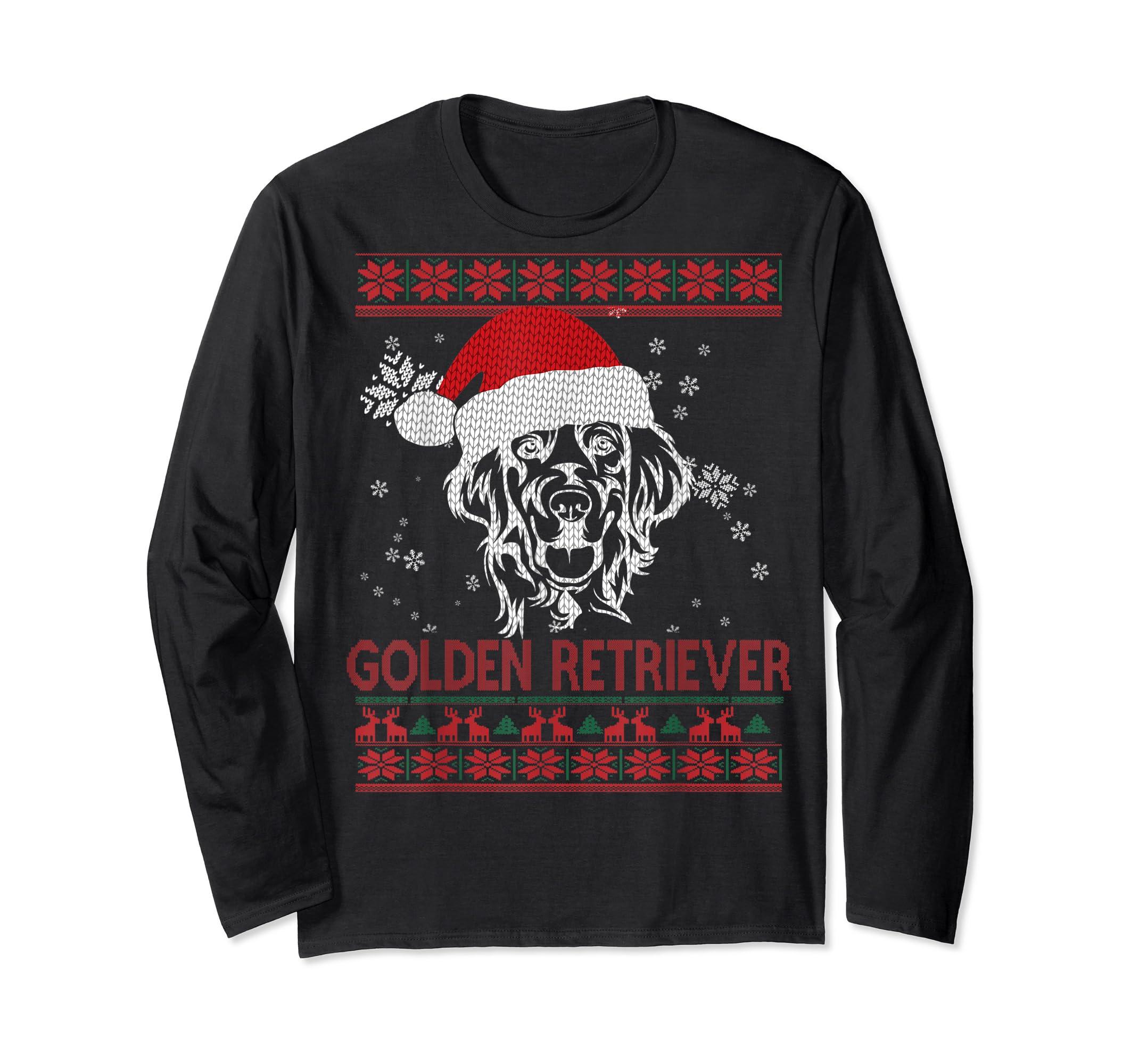 Ugly Christmas Golden Retriever Santa Hat Dog Gift T-Shirt-Long Sleeve-Black