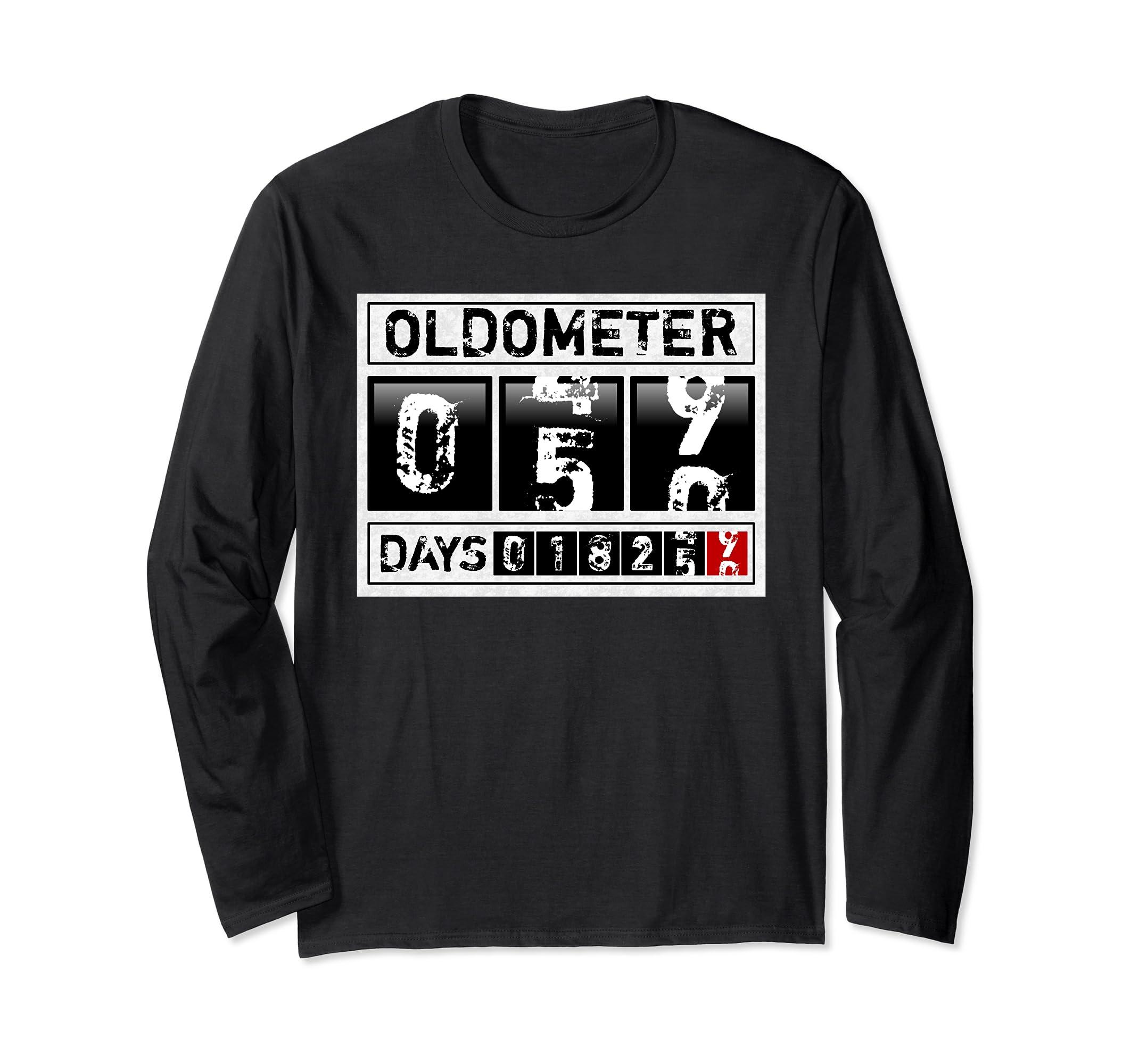 eb5fe055 Amazon.com: Funny 50th Birthday Long Sleeve T-Shirt 50 Years Oldometer:  Clothing