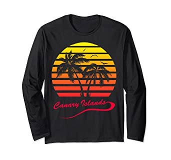 2d8756260ad87 Amazon.com: Canary Islands 80s Tropical Sunset Long Sleeve T-Shirt ...