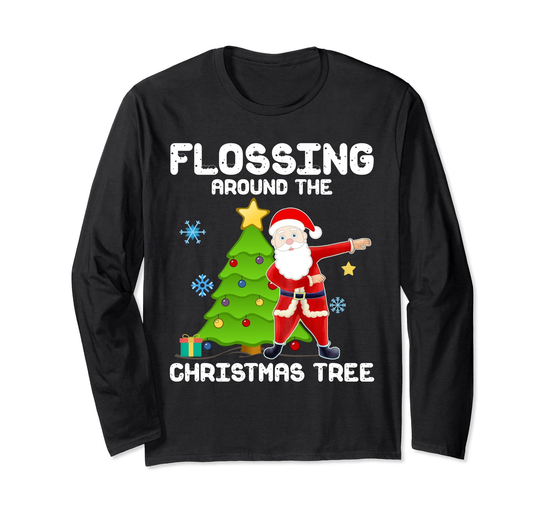 813bb1ce5 Amazon.com: Santa Flossing around the Christmas Tree Long Sleeve T-Shirt:  Clothing