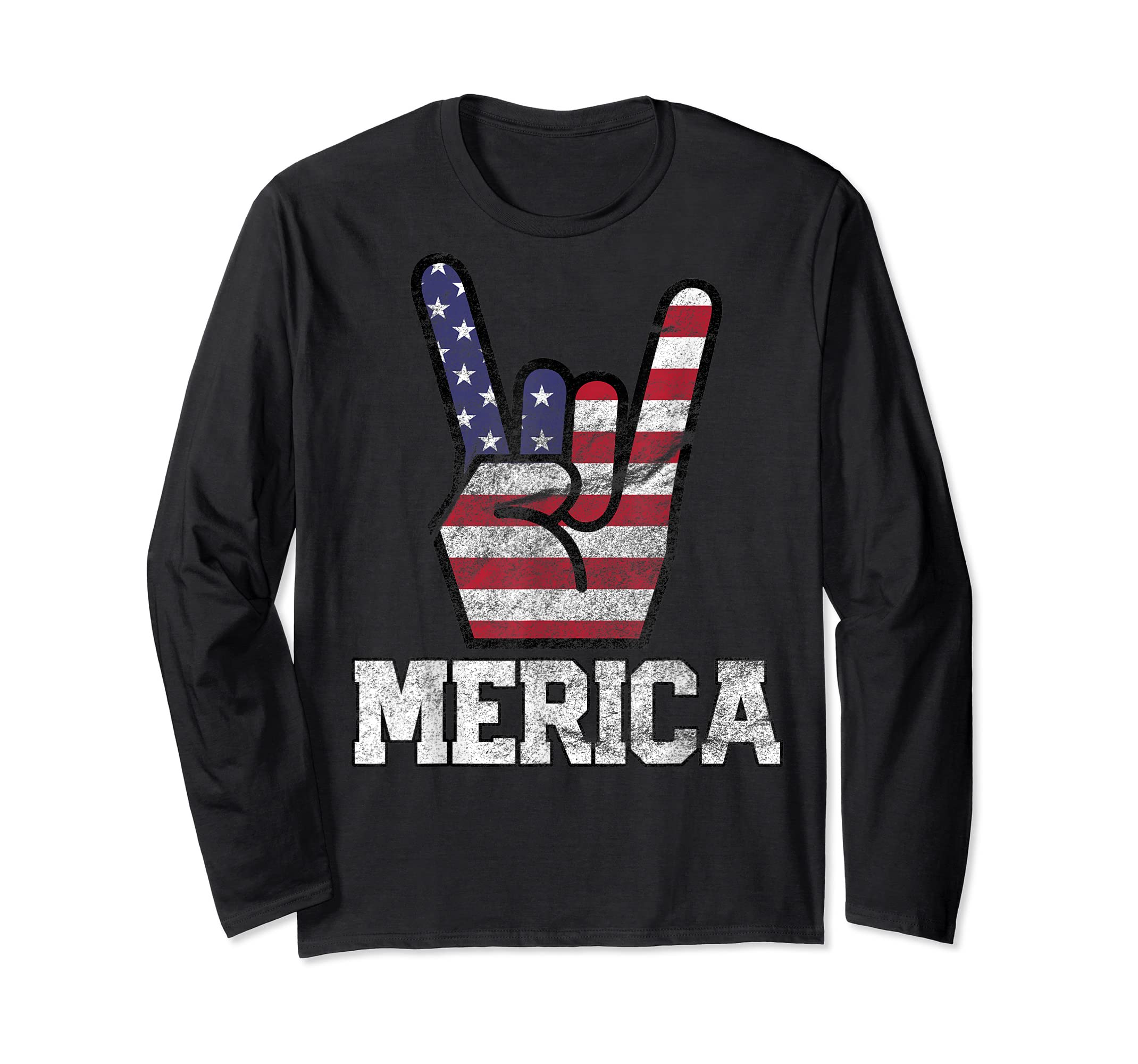 Merica Rock Sign 4th of July Vintage American Flag Retro USA T-Shirt-Long Sleeve-Black