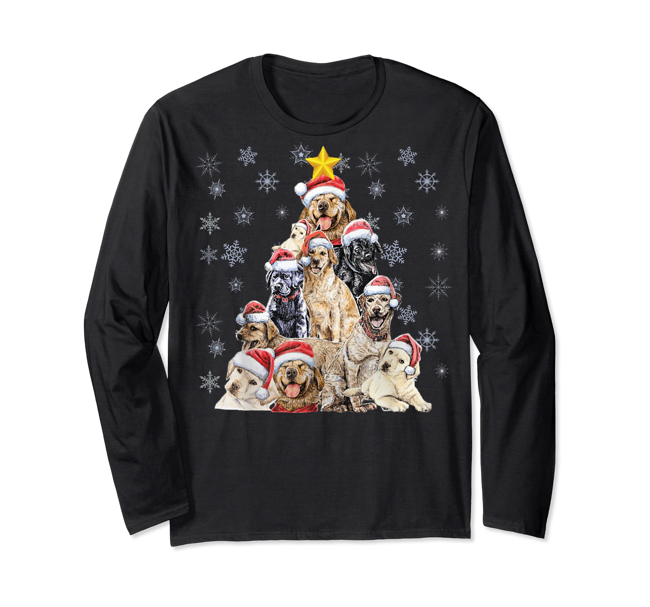 Labrador Retriever Dog Christmas Funny T-Shirt-Long Sleeve-Black