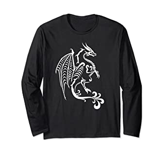 090ab06cd Amazon.com: White Tribal Dragon Long Sleeve Shirt for Men, Women ...