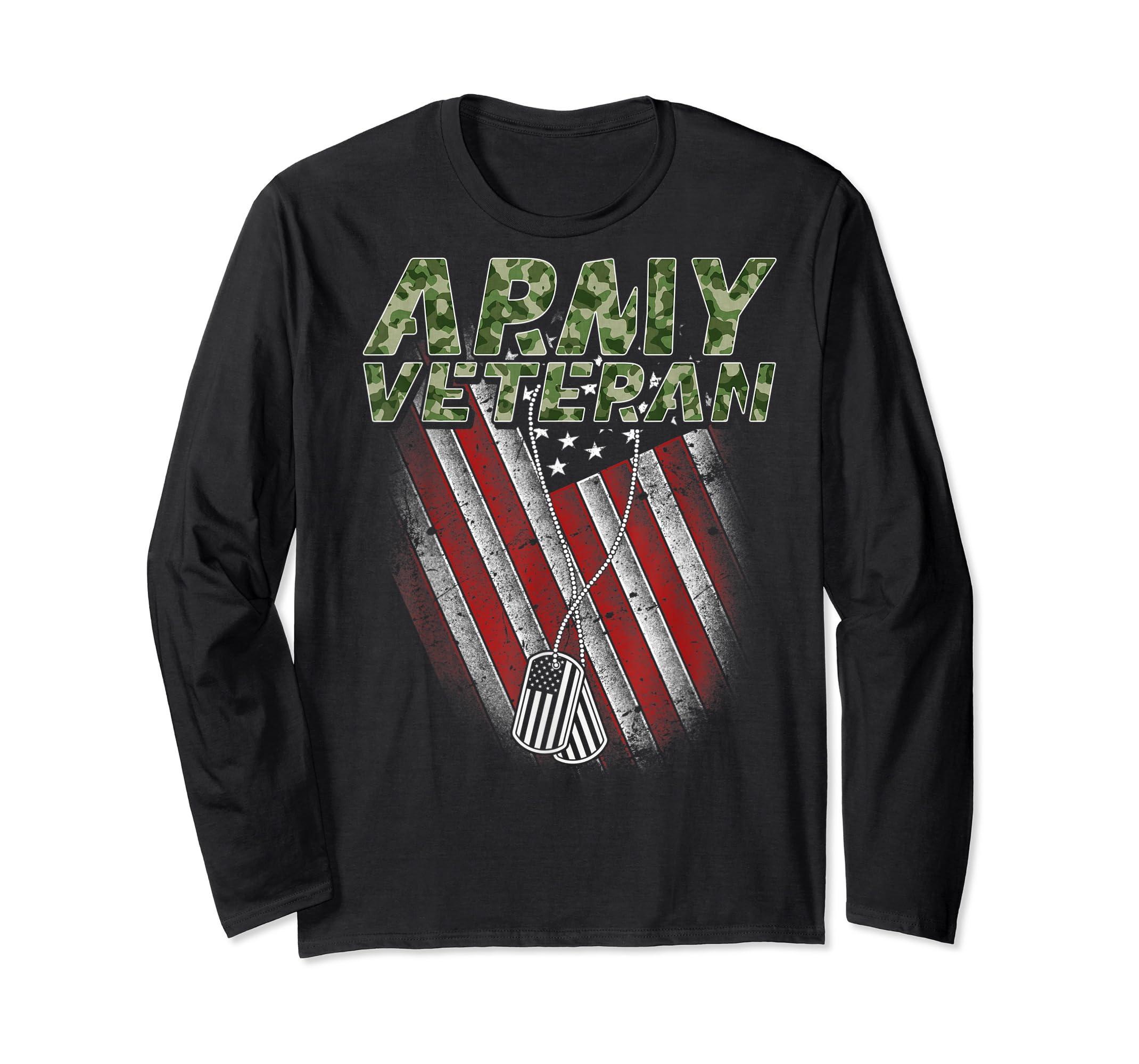 Army Veteran American Flag Camo Proud US Christmas Gifts T-Shirt-Long Sleeve-Black