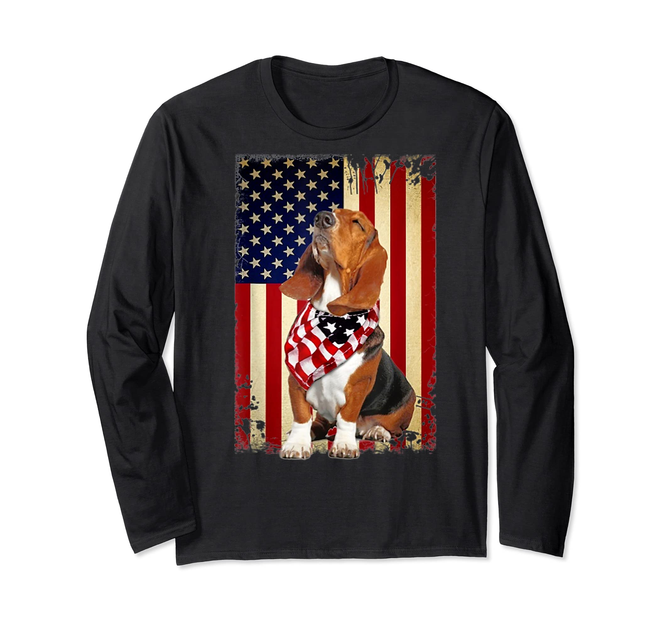 Basset hound smile flag American t-shirt Independence 4th of-Long Sleeve-Black