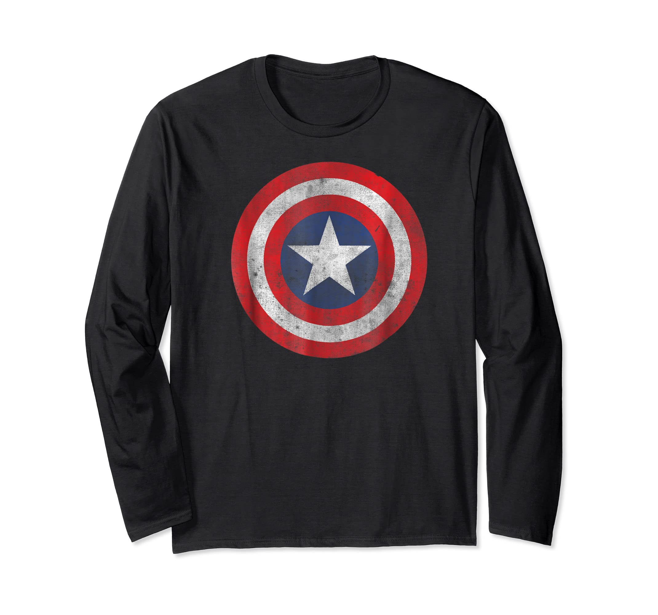 Marvel Captain America Classic Shield Graphic T-Shirt-Long Sleeve-Black