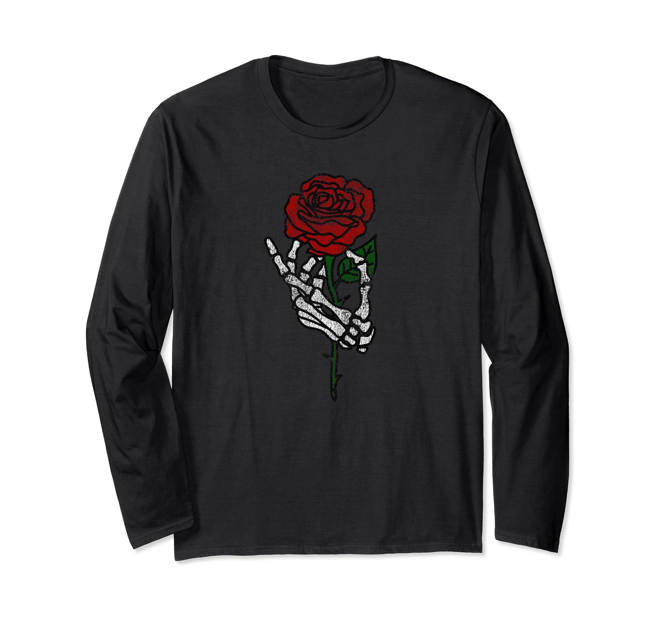 Skeleton Hand Holding Rose Long Sleeve Shirt, Vintage